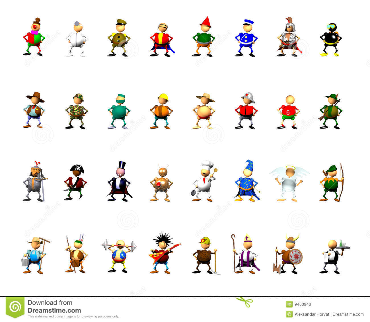 Character Collection Clipart Stock Photo