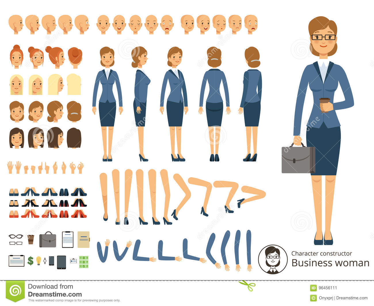5e53b0163f493 Character constructor of business woman. Cartoon vector illustration of  different body parts and thematic elements. Person woman constructor,  emotion and ...
