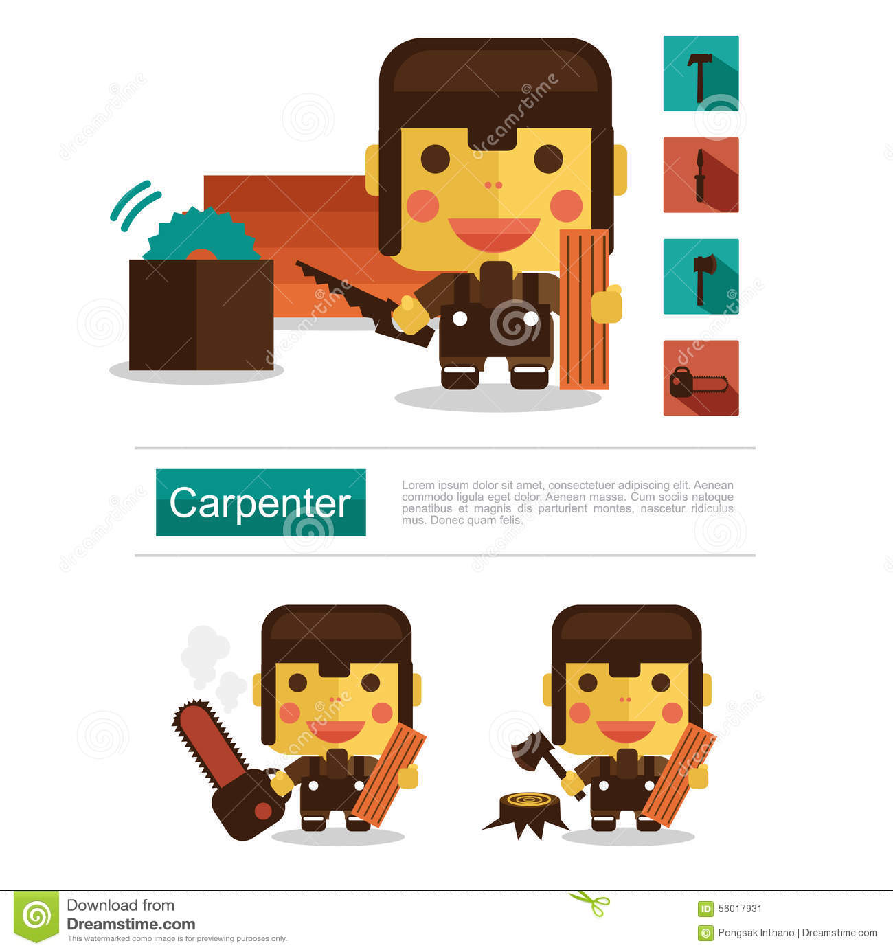 Character Design Career : Character design carpenter career icon vector with white