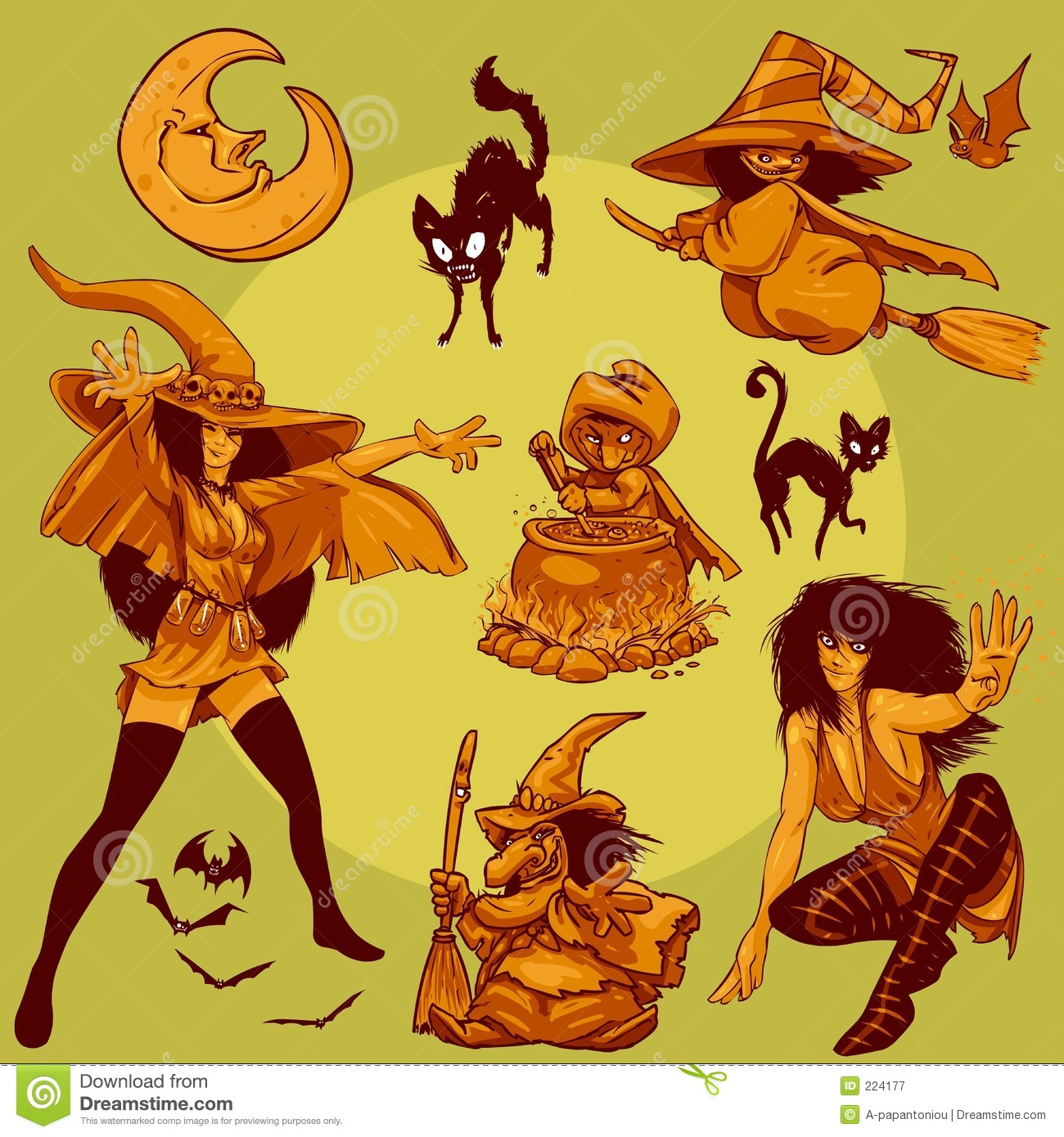 character design collection 009 halloween witches royalty free stock photography - Halloween Design