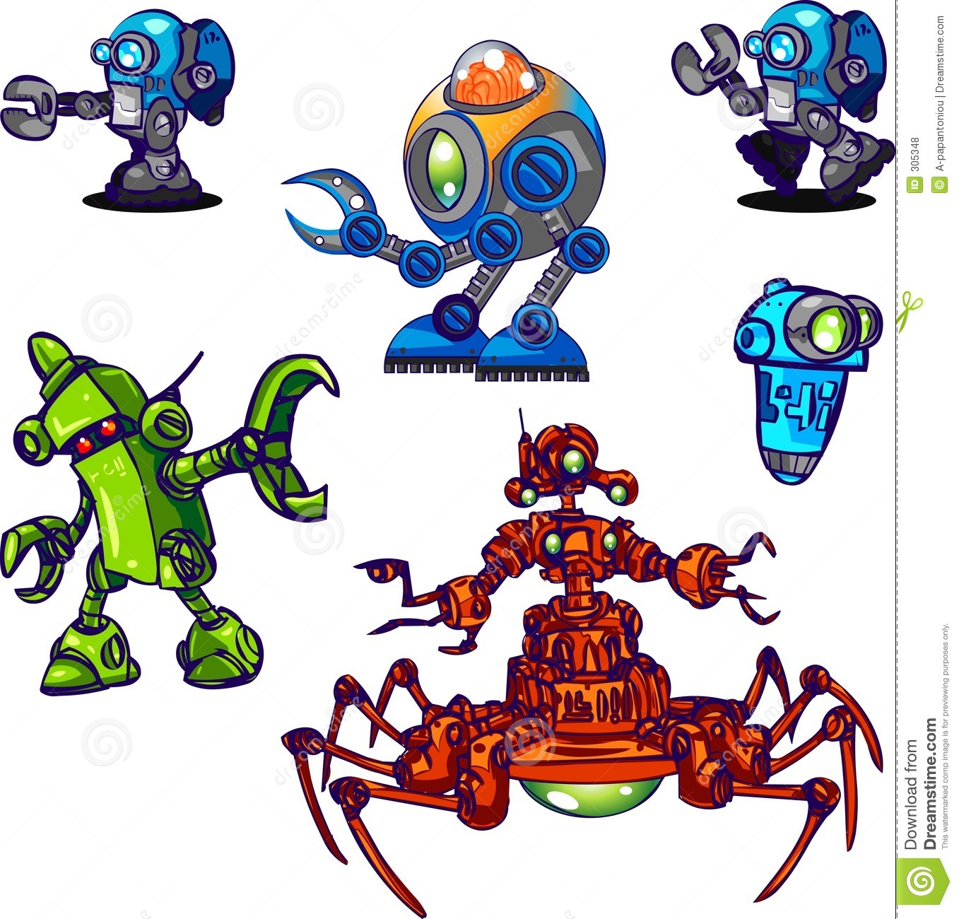 Character Design From The Ground Up Download : Character design collection robots stock illustration