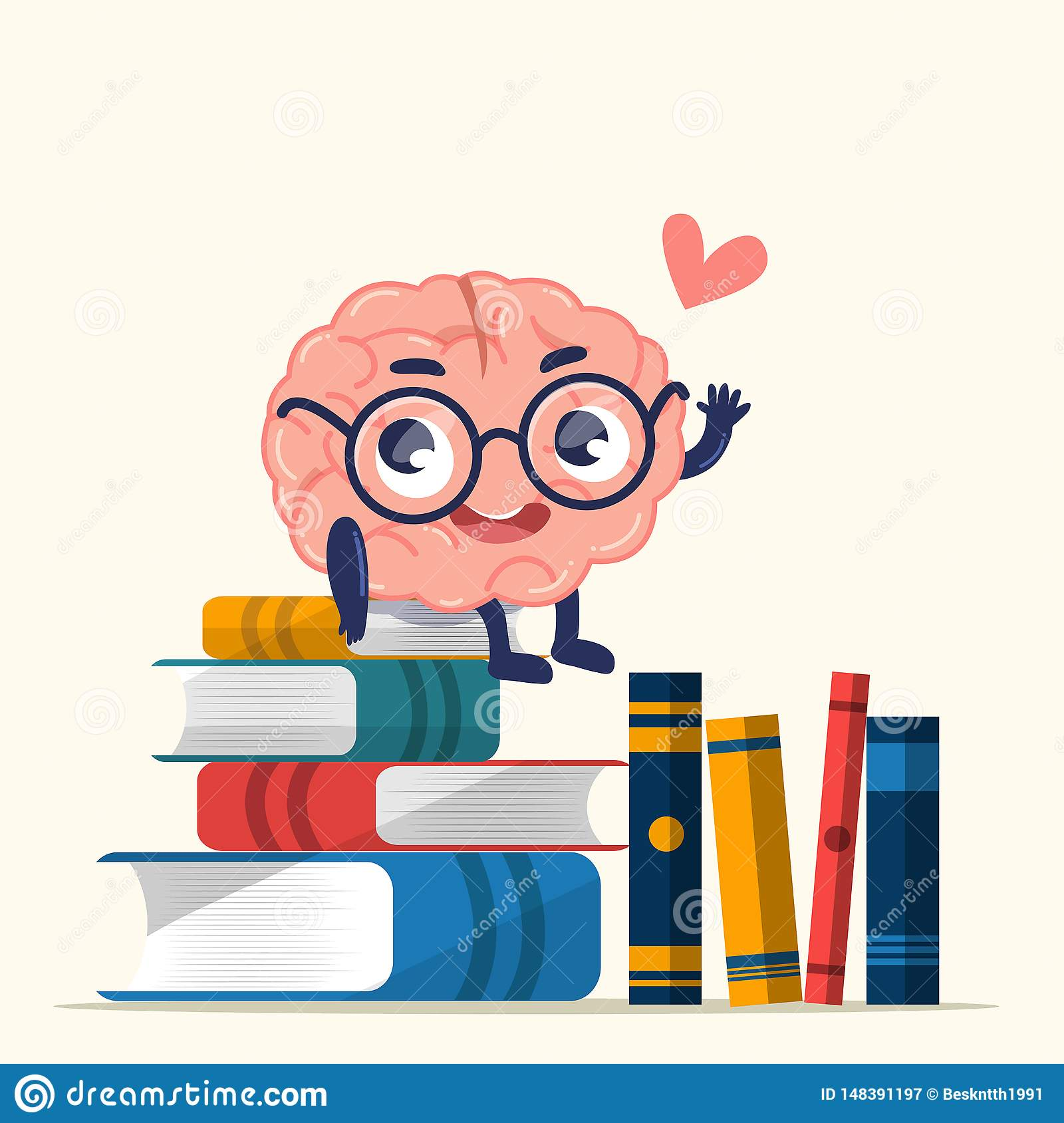 Character design cute brain for knowledge