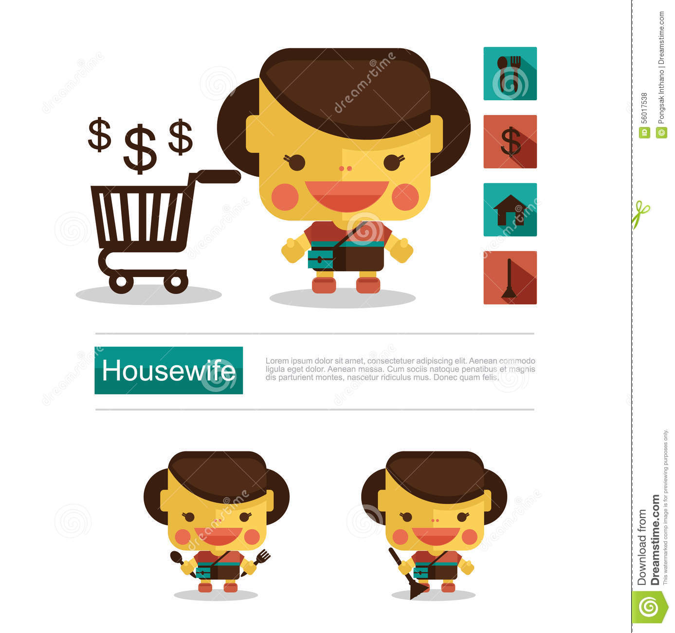 Character Design Icon : Set of housewife icon homemaker cleaning ironing cook wash