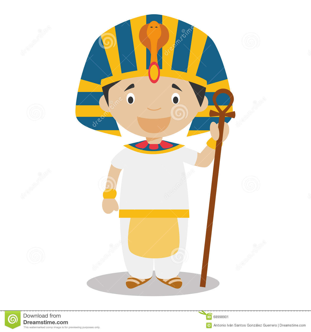 Stock Illustration Character Egypt Dressed Traditional Way As Pharaoh Ancient Egypt Vector Illustration Kids World Image68998901