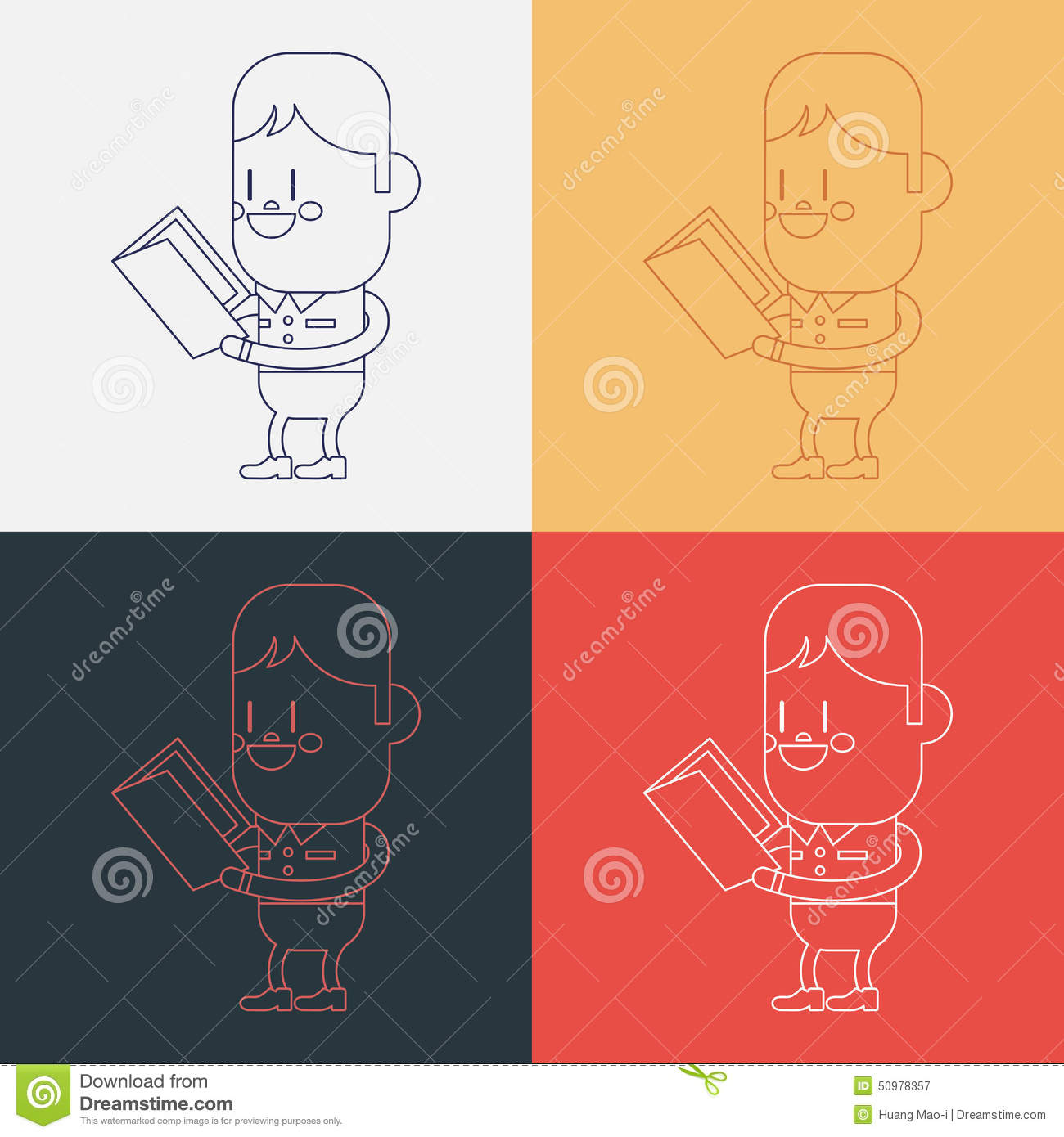 Character Design Course Description : Kid reading a book cartoon illustration royalty free
