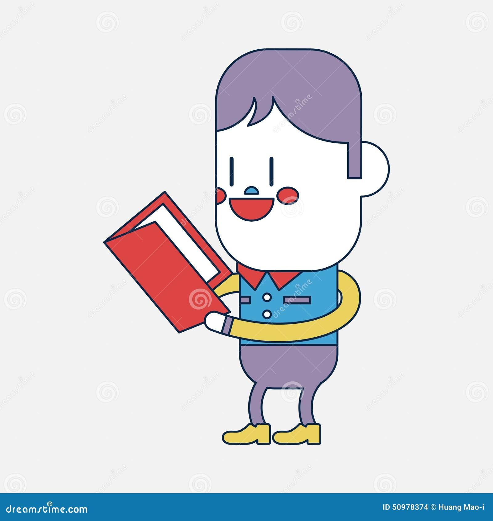 Cartoon Characters Reading Books : Character illustration design boy reading book cartoon