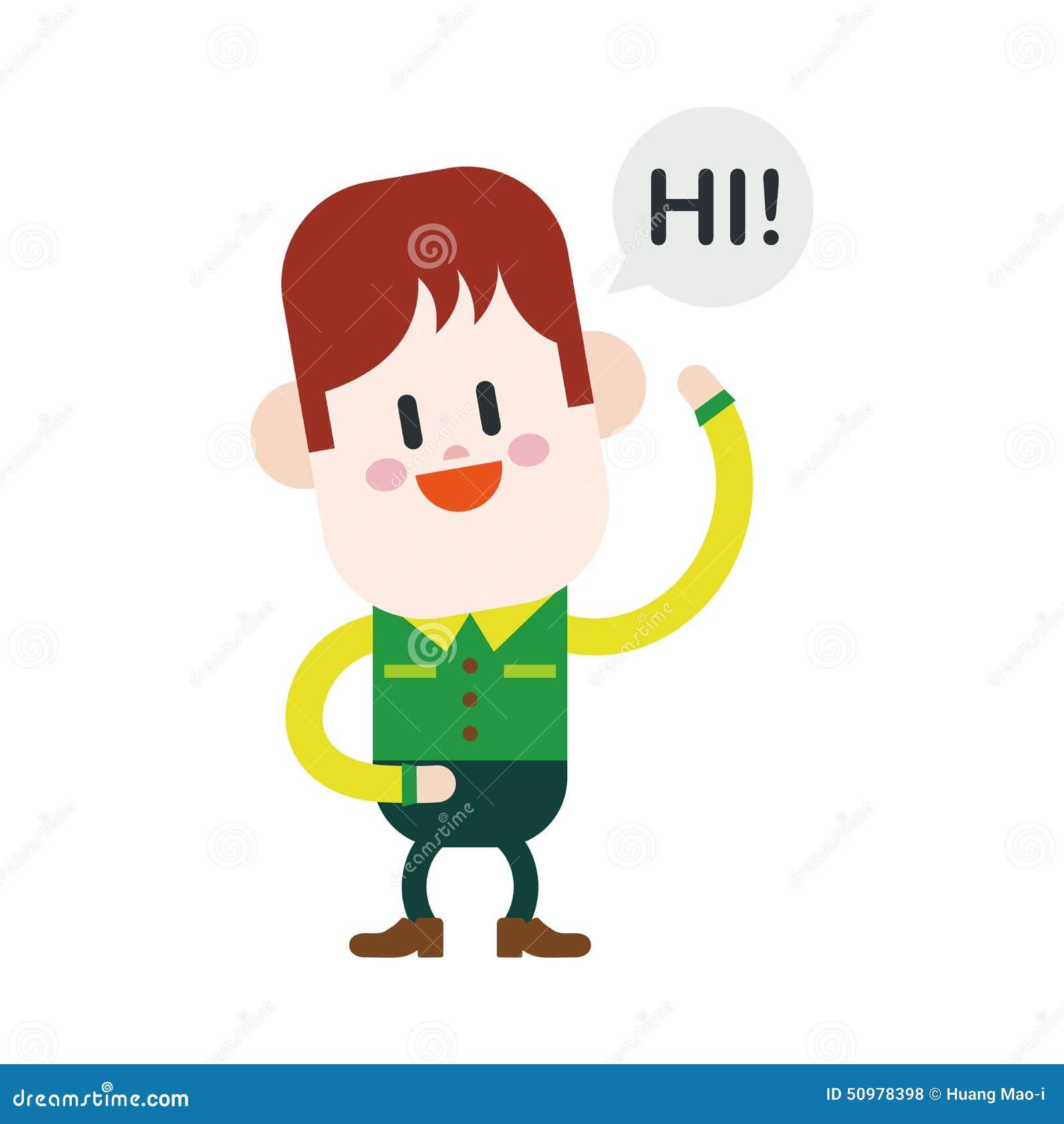 Hi 5 Cartoon Characters : Character illustration design boy saying hi cartoon eps
