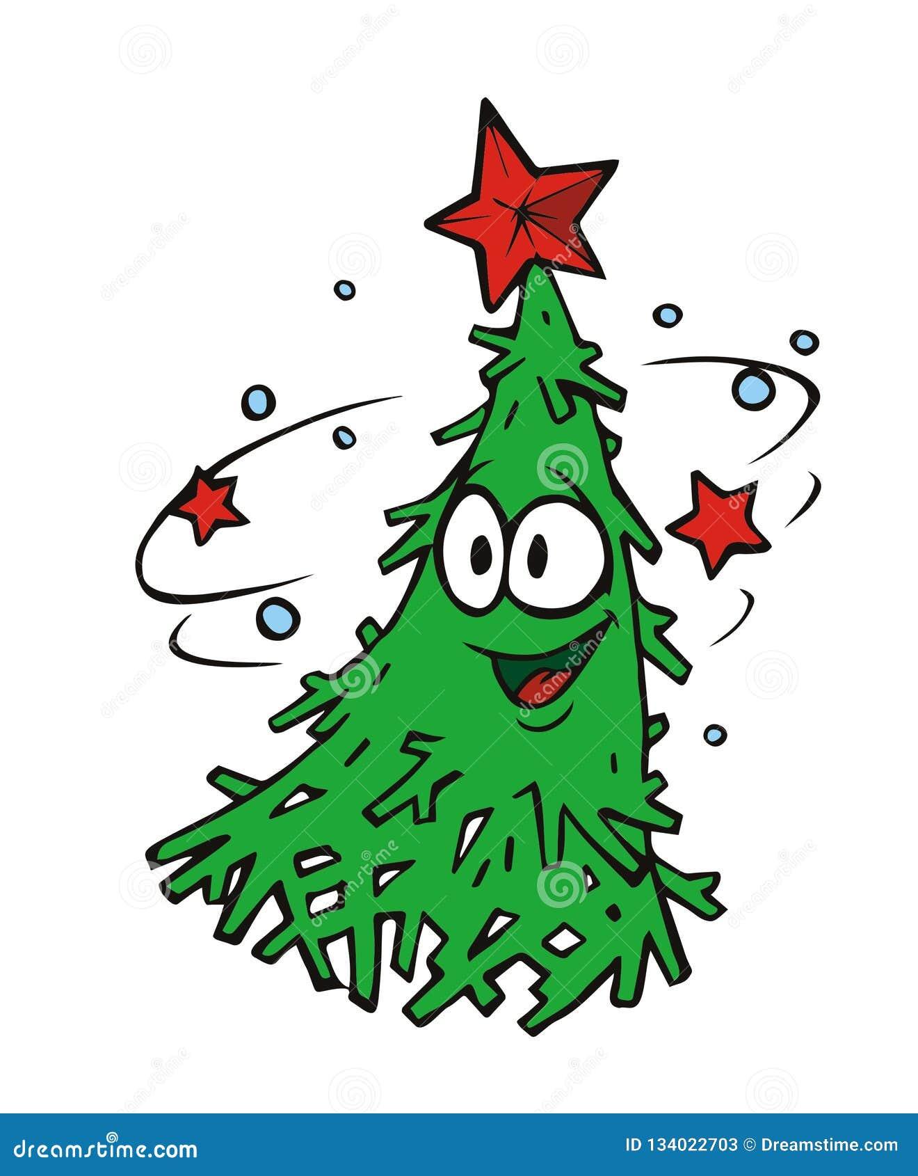 Character Merry Dancing Christmas Tree Stock Vector ...