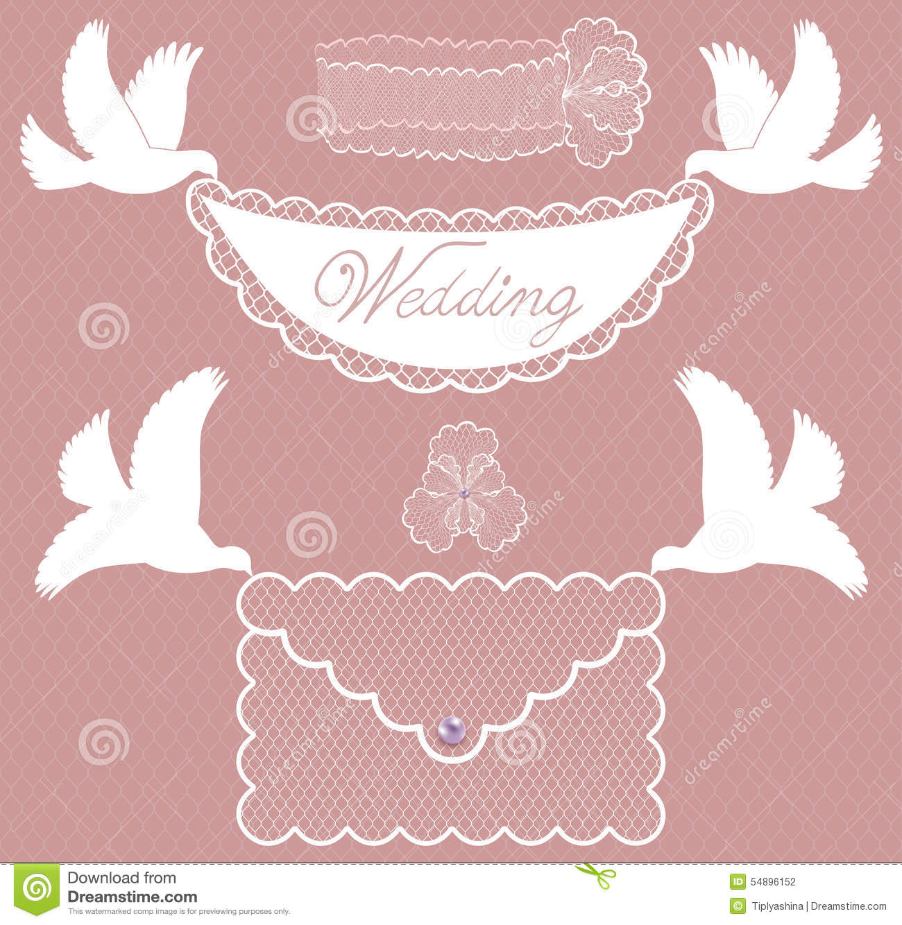 Character Set Wedding With Doves Stock Vector - Illustration of ...