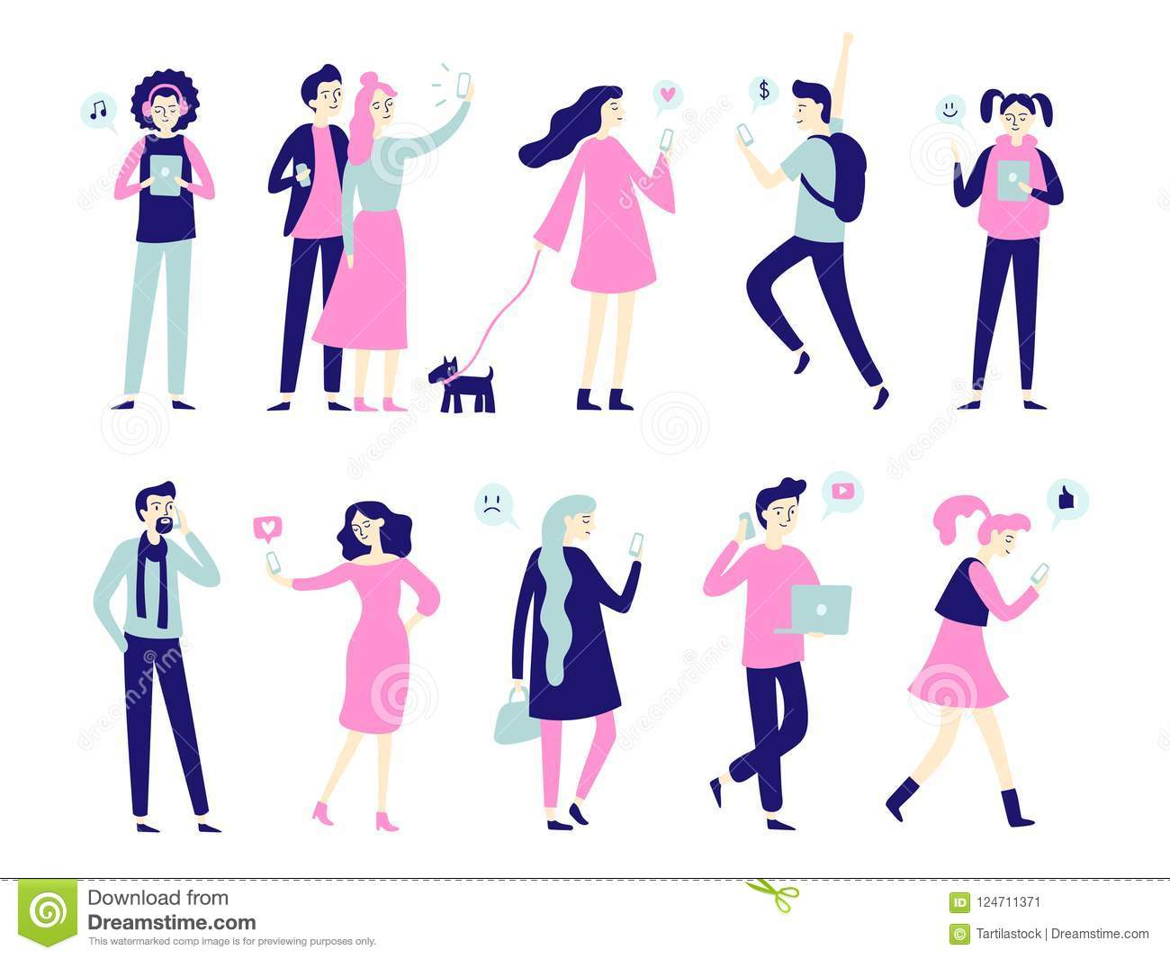 Character with smartphone. Smartphones in people hands, man talk on mobile phone or woman taking selfie. Flat characters