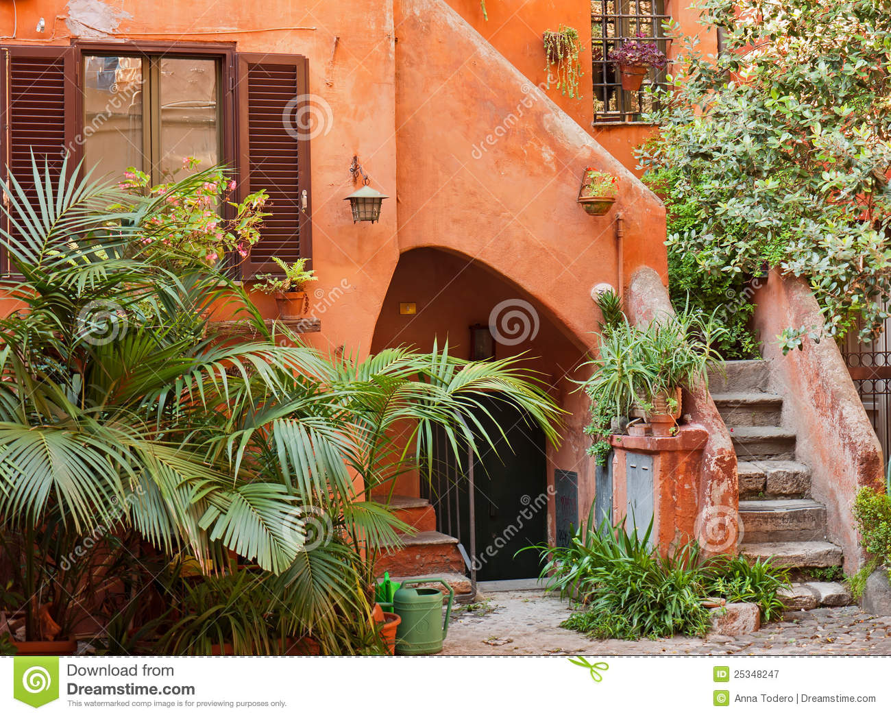 Characteristic courtyard in italy stock image image for Mediterranean courtyards photos