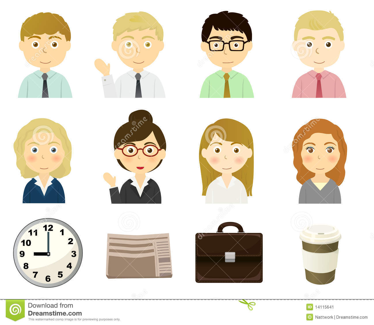 Characters of business person theme