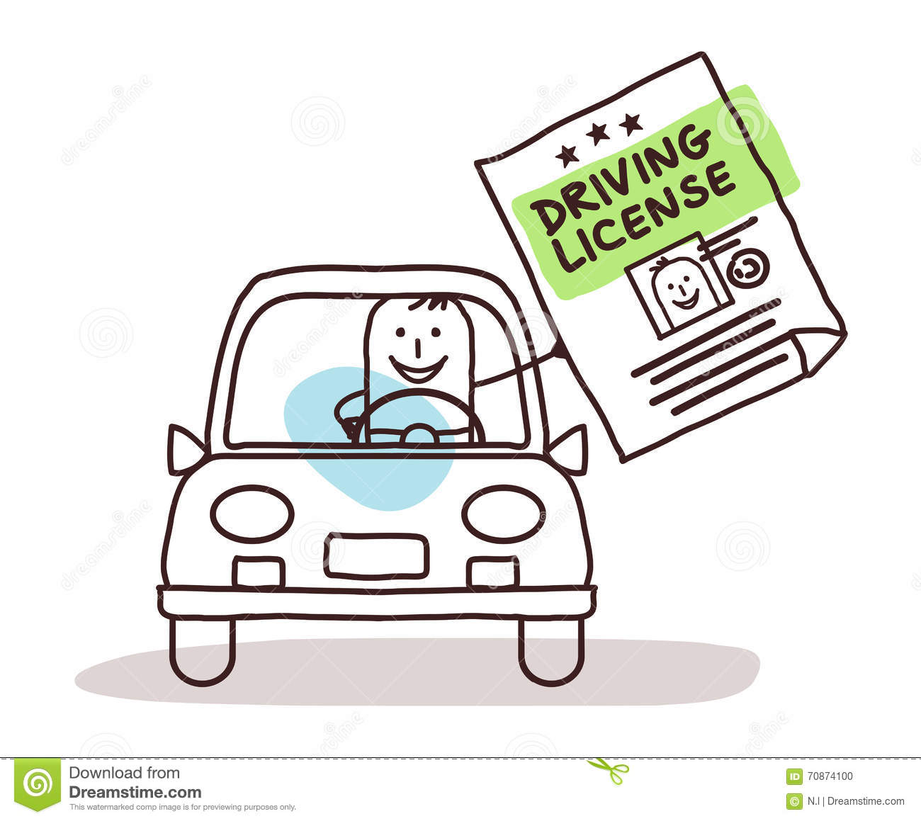 characters and car   driving license stock vector   image 70874100