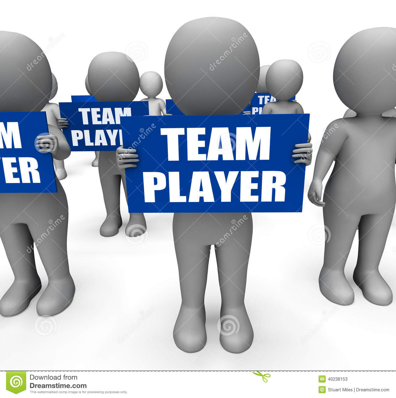 Characters Holding Team Player Signs Show Stock