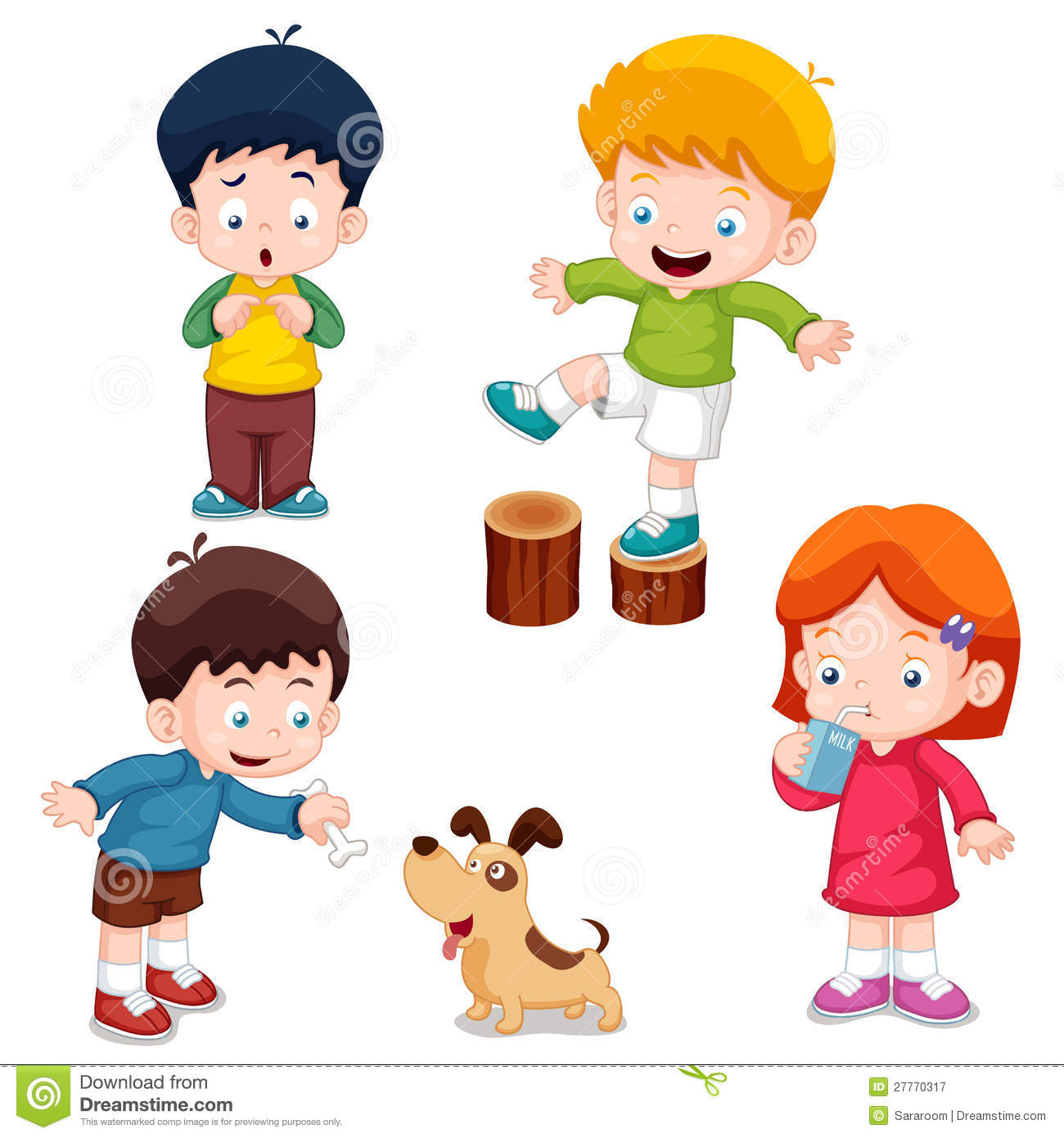 Characters kids cartoon stock vector Illustration of decoration