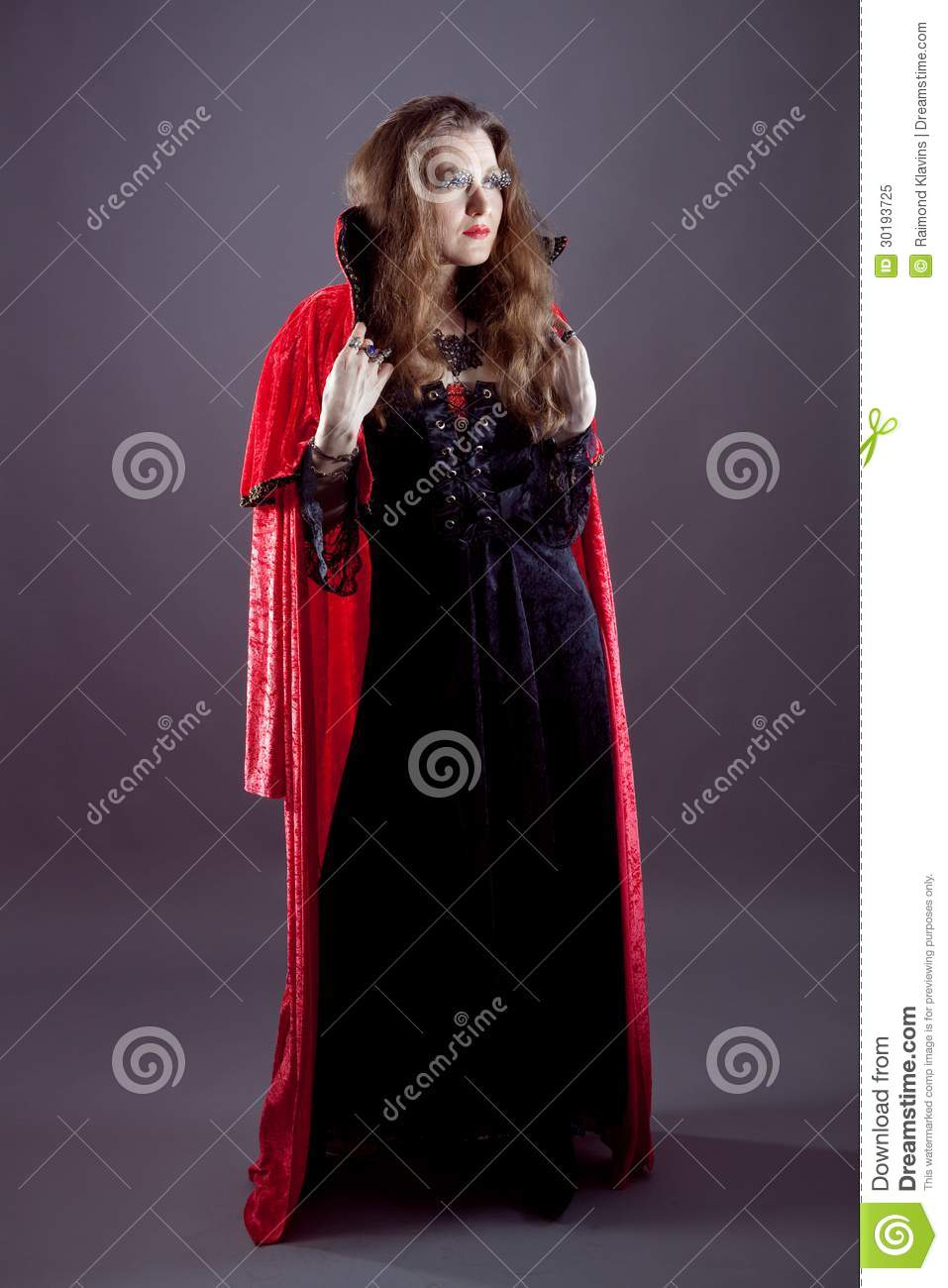 Young Women In Red Long Raincoat Stock Image Image Of