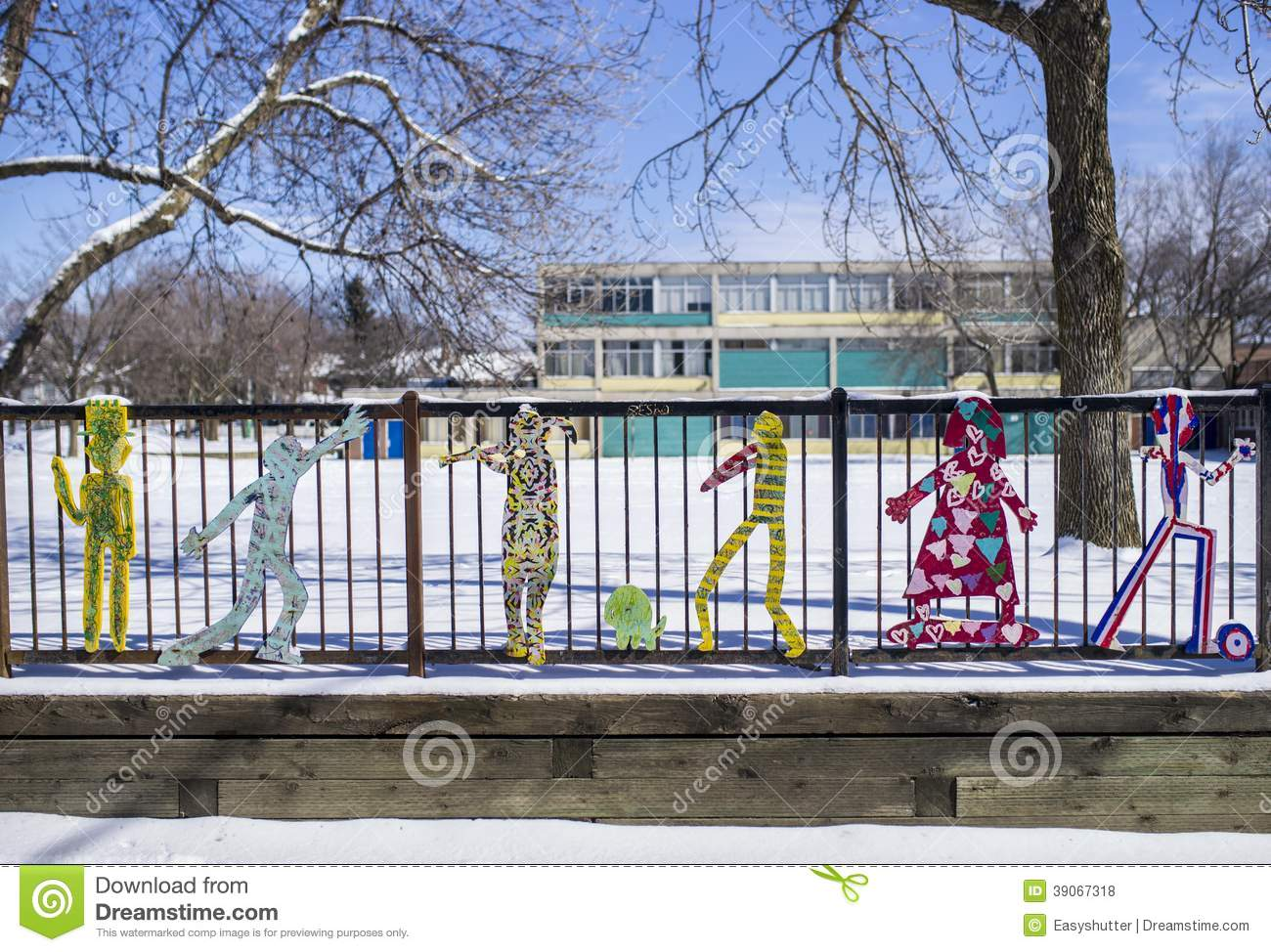 Characters On A School Fence Stock Photo Image Of Fencing Playground 39067318
