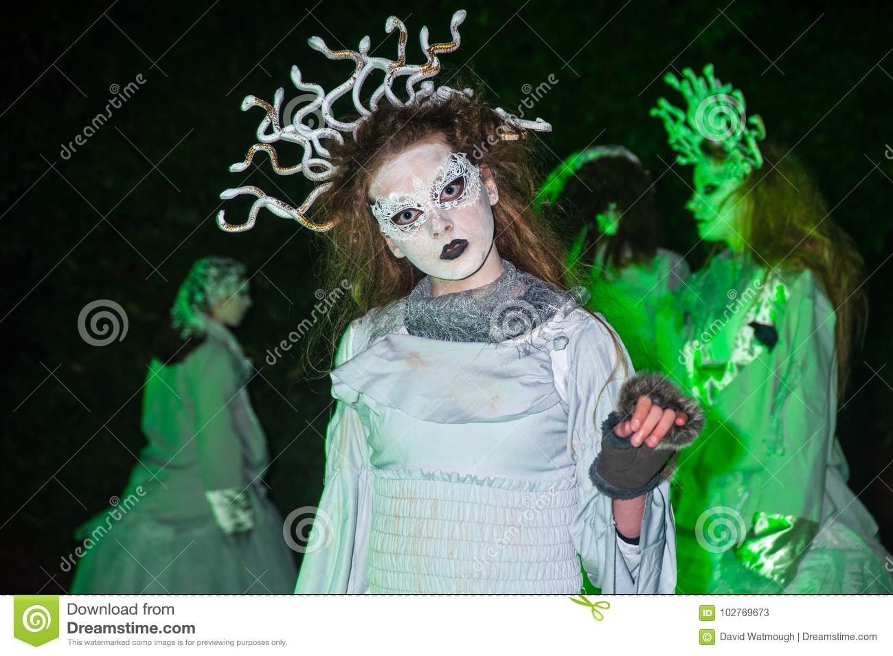 Characters in the underworld at Halloween