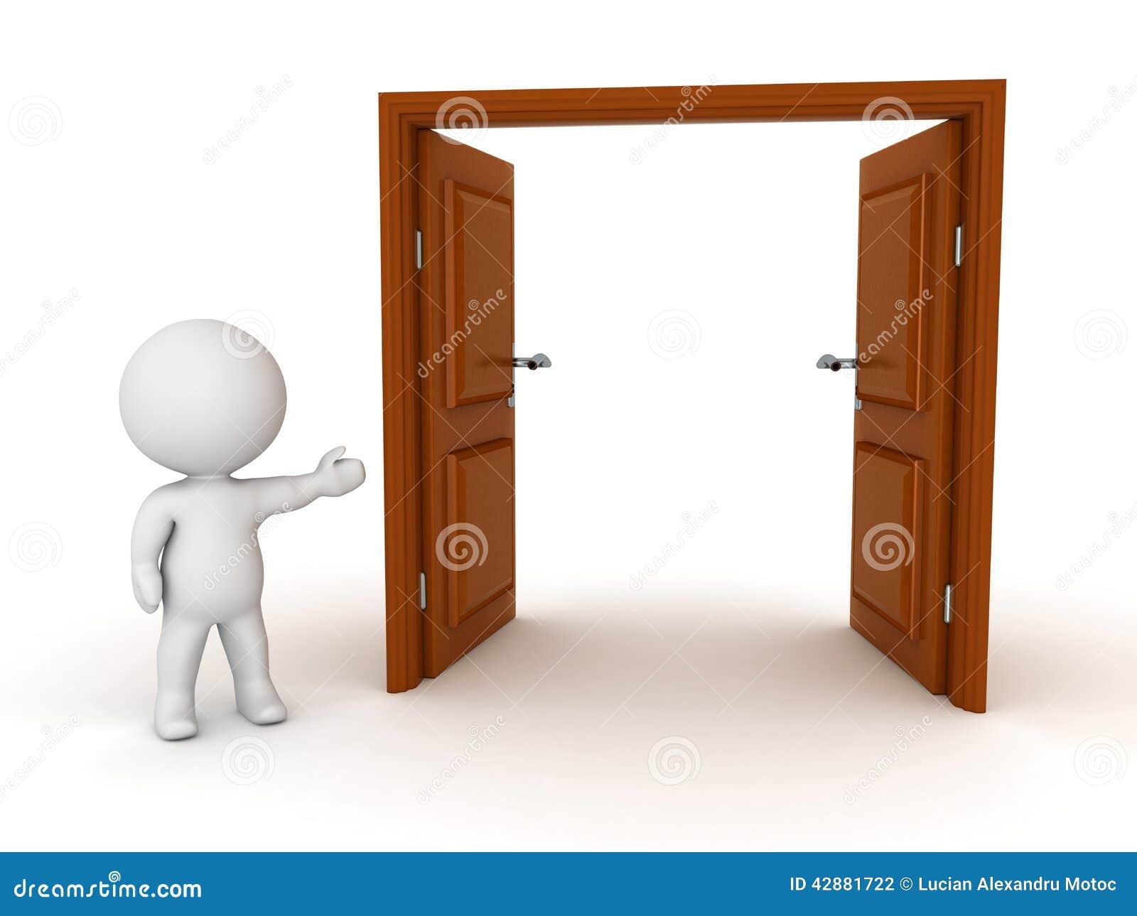 Offene tür  Charakter 3D, Der Offene Tür Zeigt Stock Abbildung - Bild: 42881722
