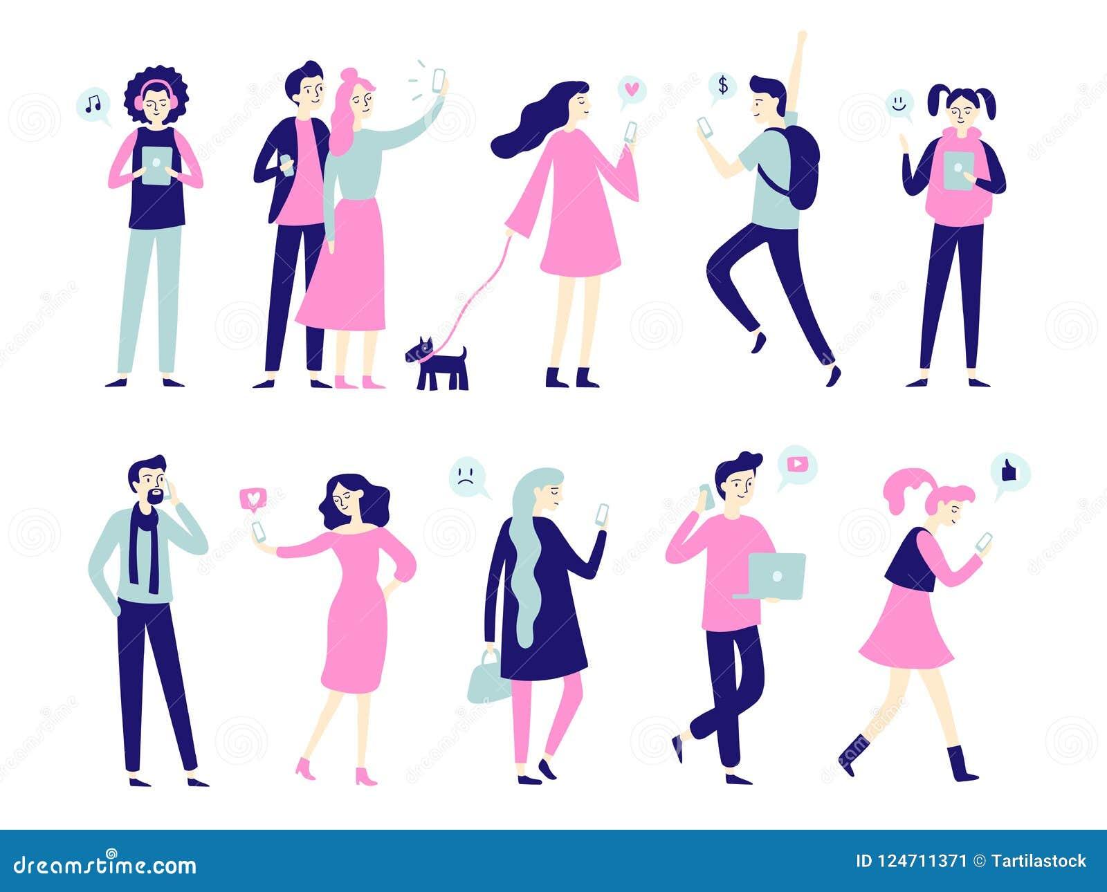 Charakter mit Smartphone Smartphones in den Leutehänden, im Manngespräch am Handy oder in der Frau, die selfie nimmt Flache Chara