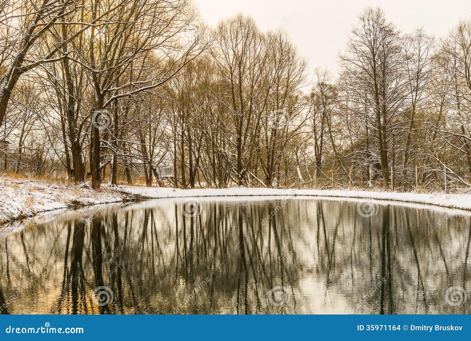 Charca no congelada en invierno
