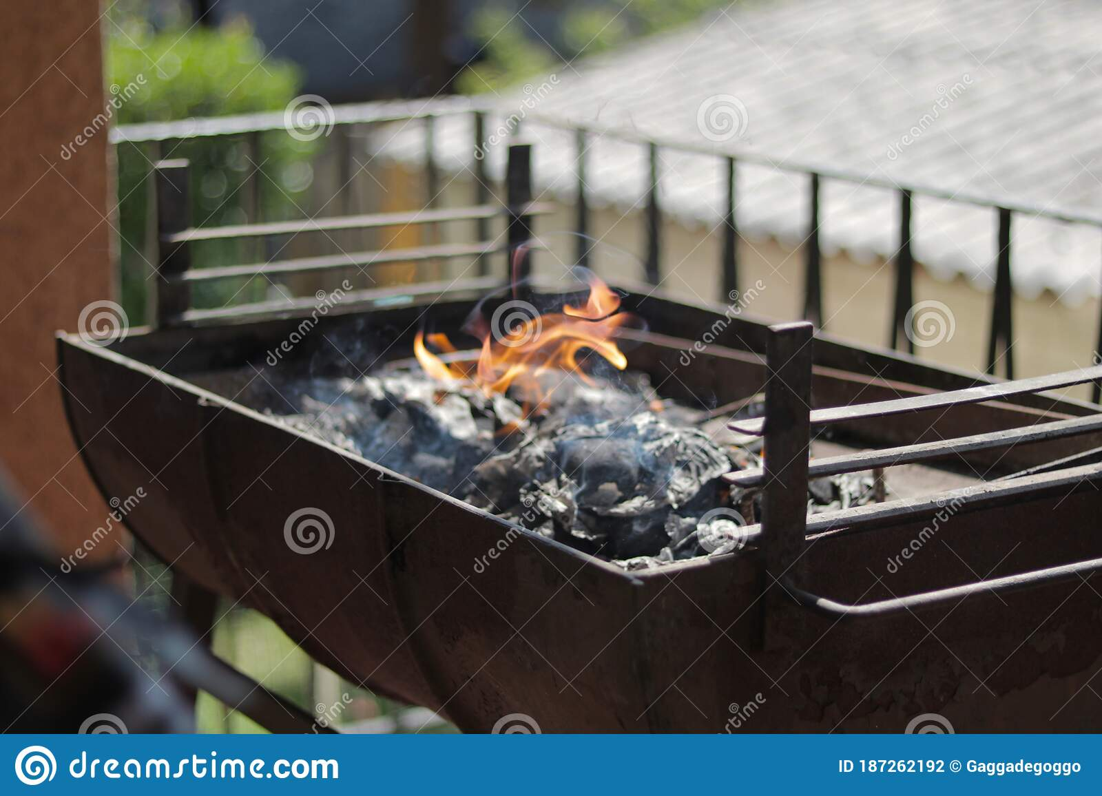 Charcoal Ashes Burning Preparing Barbecue Stock Photo Image Of Charcoal Cook 187262192
