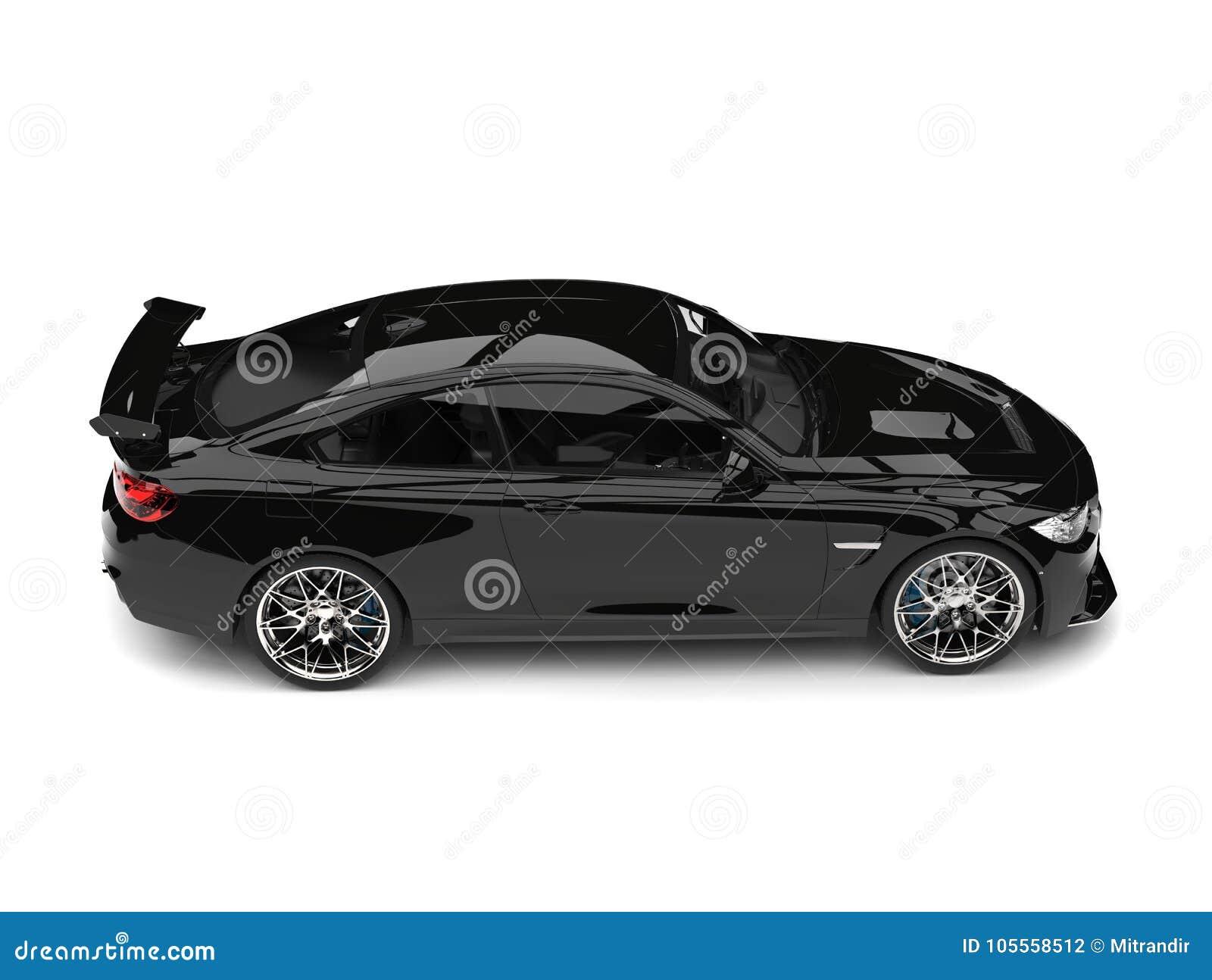 Charcoal Black Modern Sports Car Top Down Side View Stock
