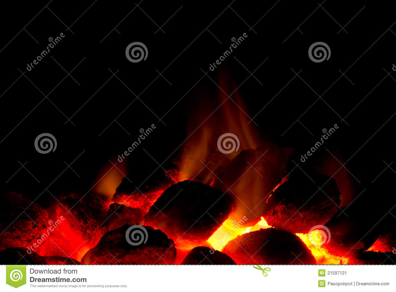 Charcoal fire for barbecue