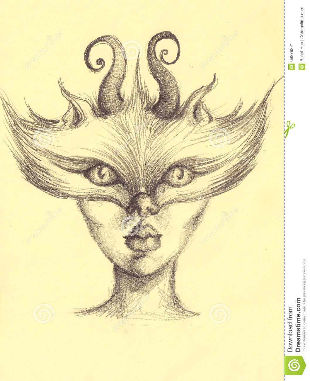 Wolf and human face combined with horns illustration art pencil drawing portrait sketch charcoal painting