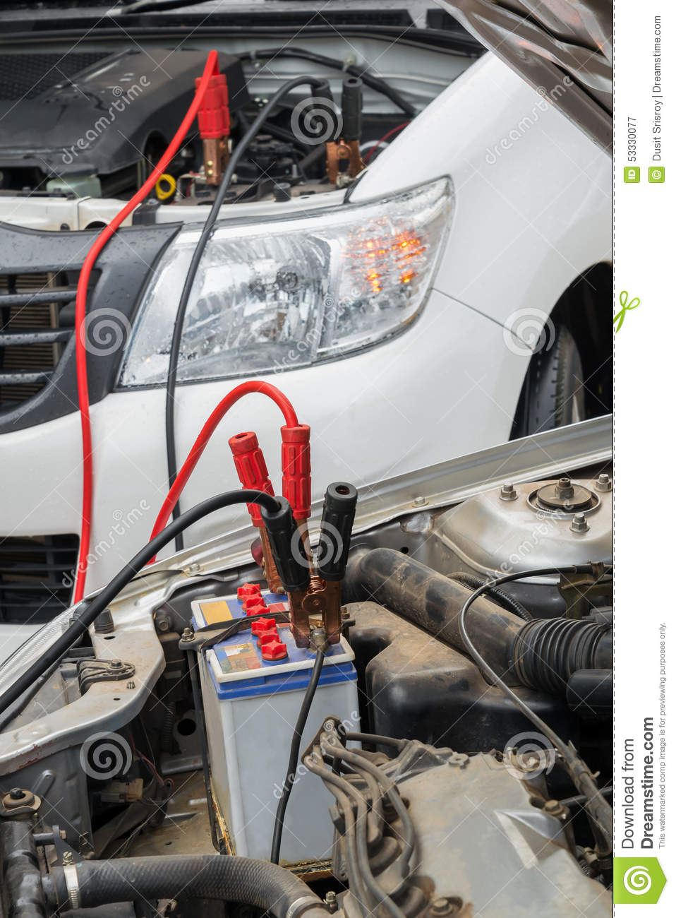 Charge a dead car battery stock image  Image of mechanic