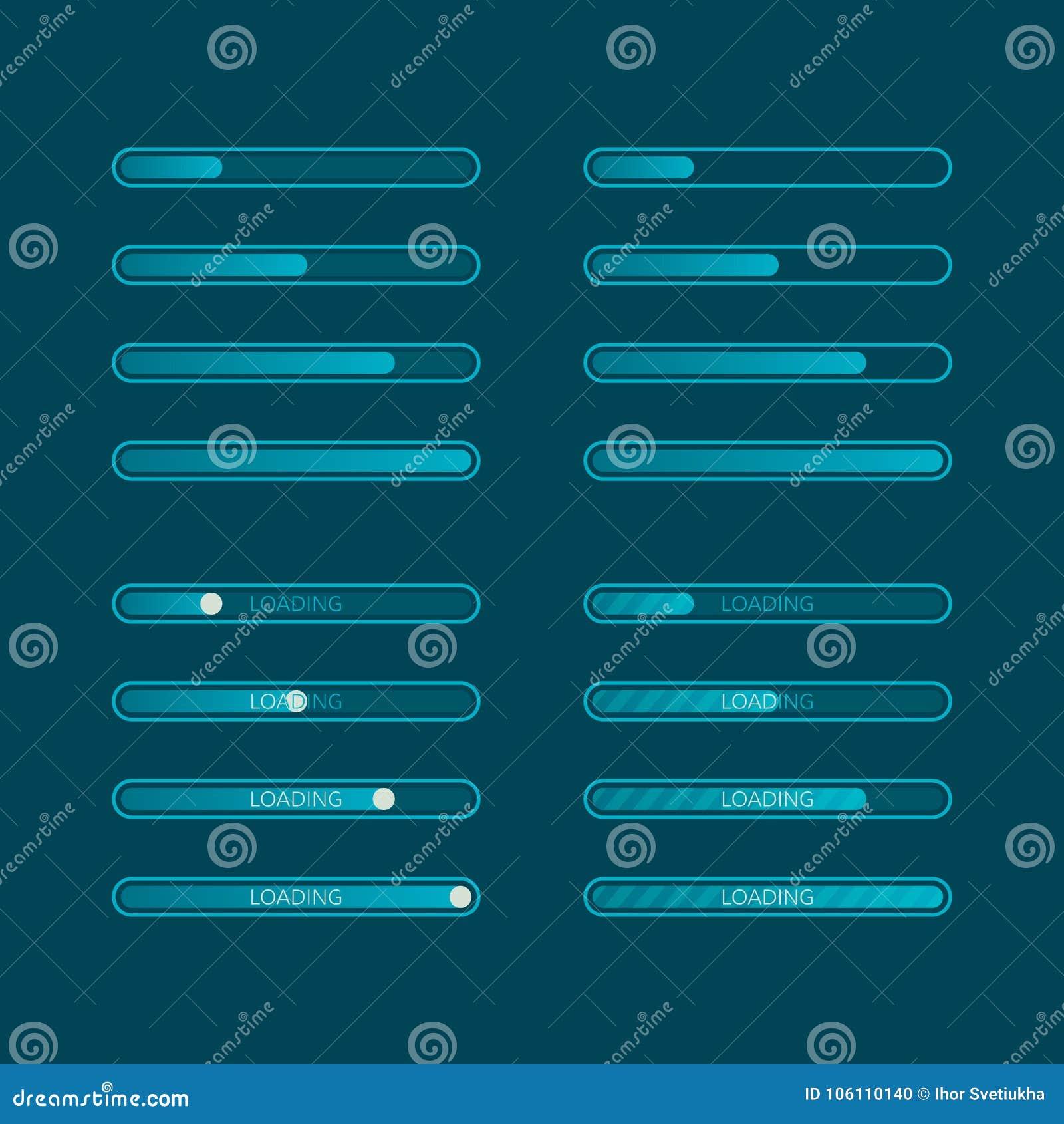 Chargement graphique de progrès de site Web Ensemble d indicateur plat de téléchargement Illustration de vecteur