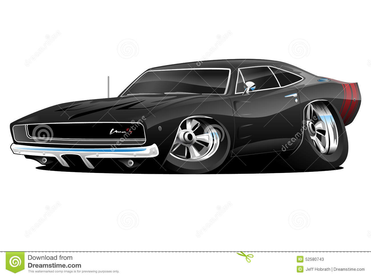 American Classic Muscle Car Cartoon Stock Illustration - Image ...