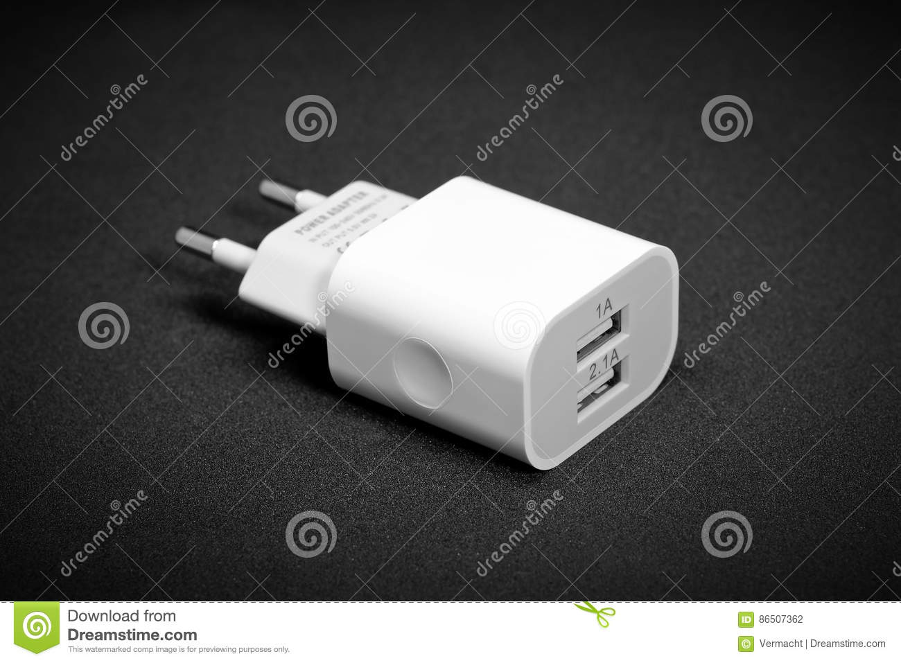 Charger with two USB connectors