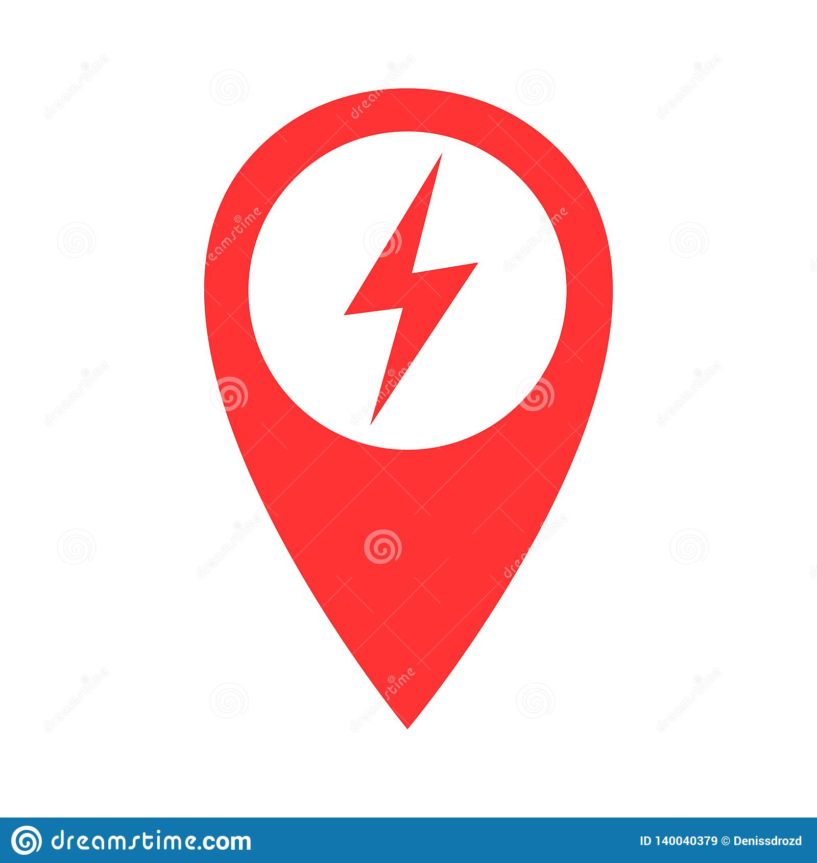 Charging plug point pin vector icon, electric station point pin illustration icon.