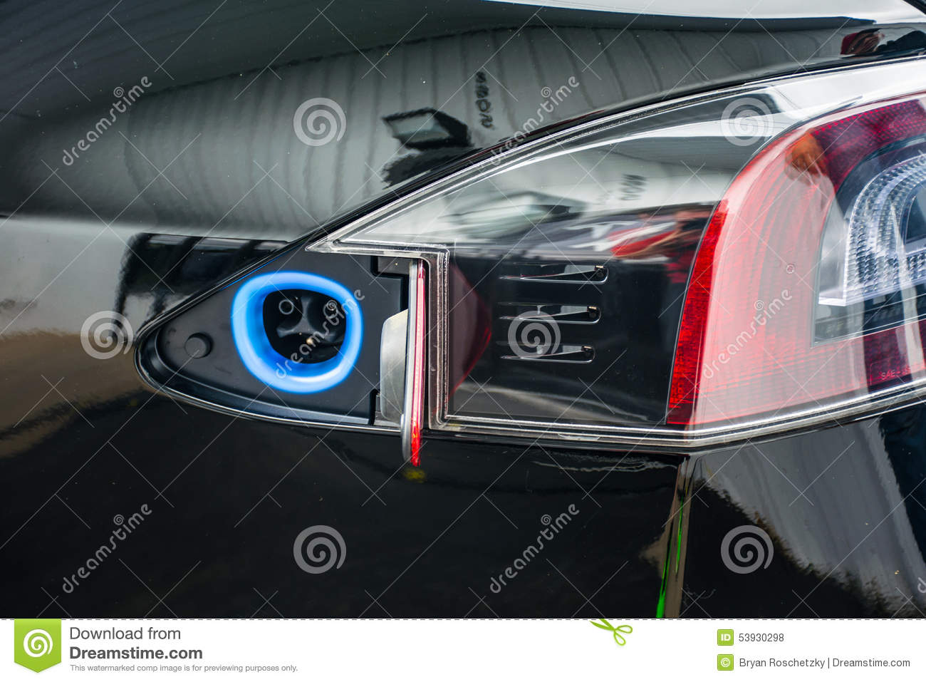 Tesla Ev Charging Port Electric Car Stock Photo Image