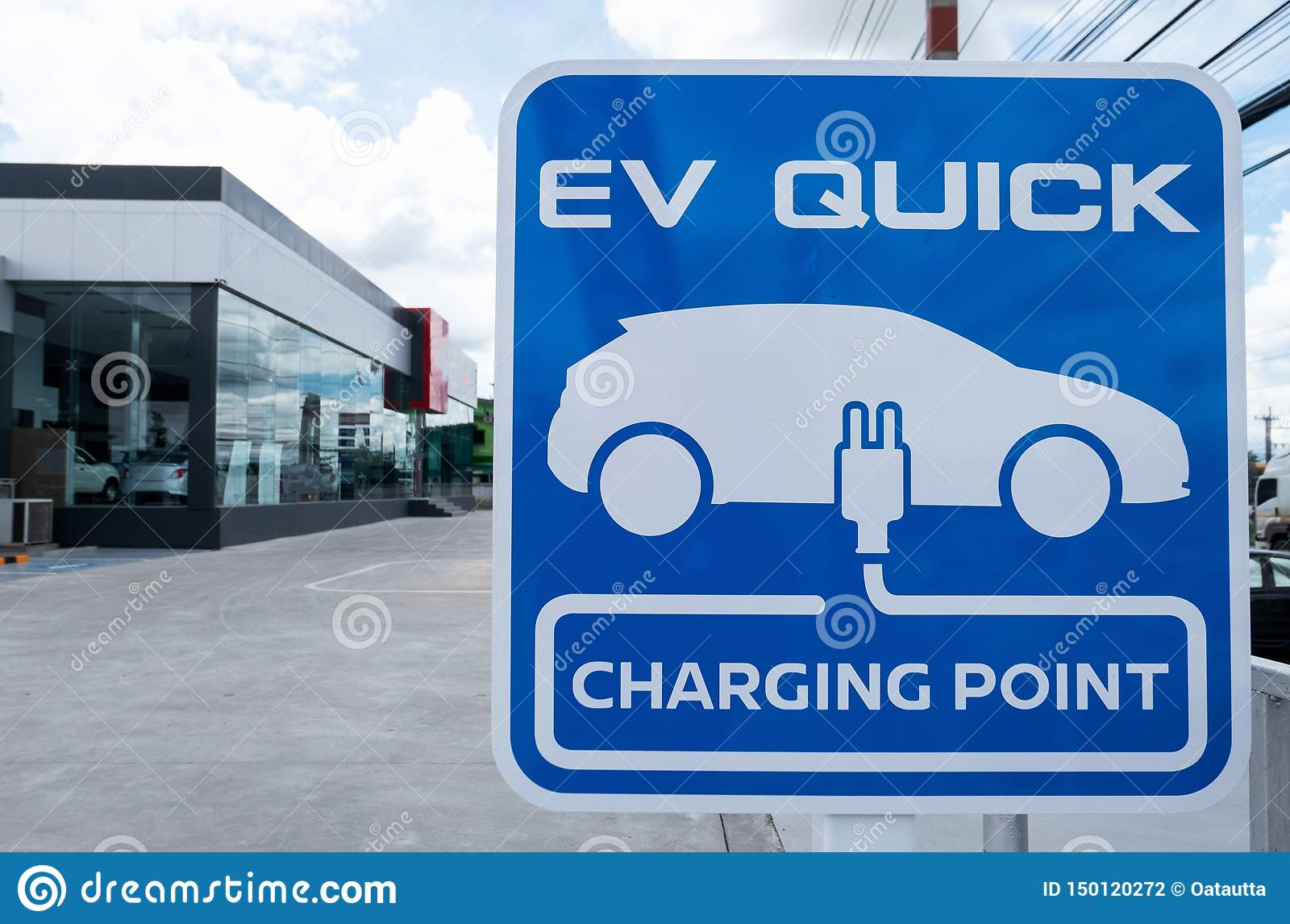 Charging station for electric vehicle.outdoor car parking . blue sign EV quick charging point