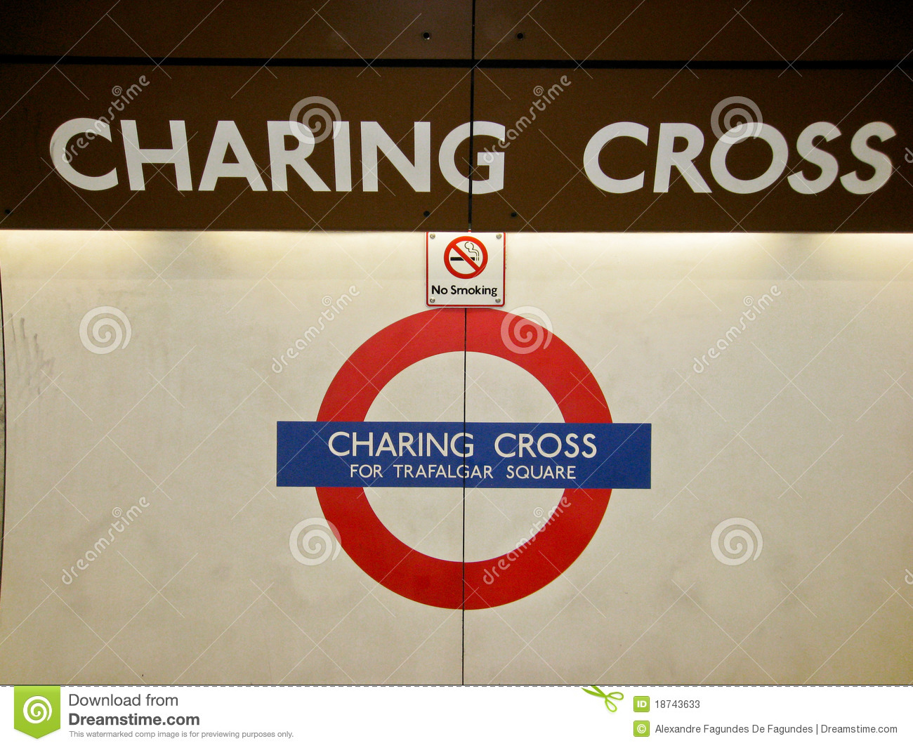 Charing Cross Underground Station Sign London Editorial Stock Photo