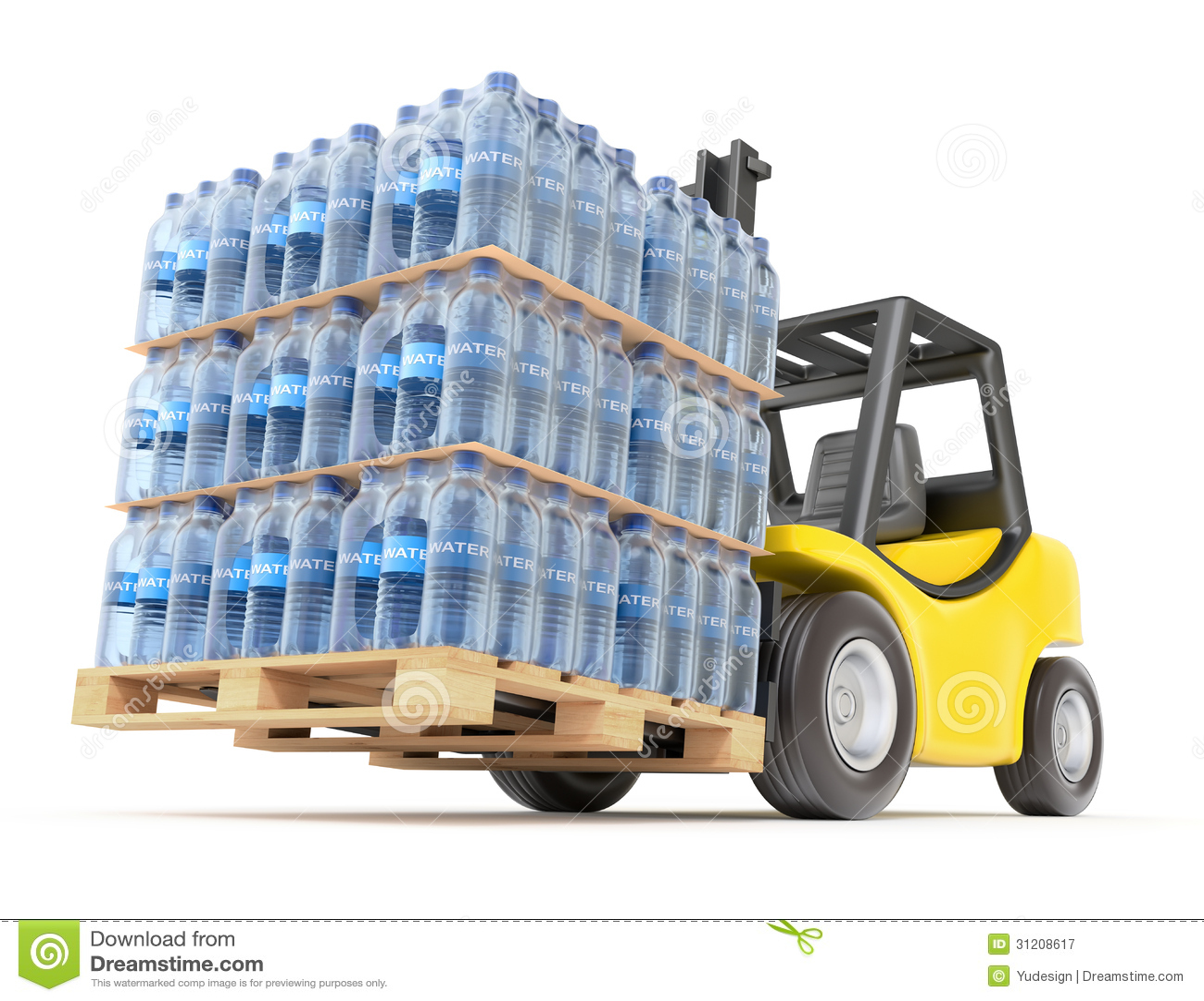 bouteille d'eau en palette
