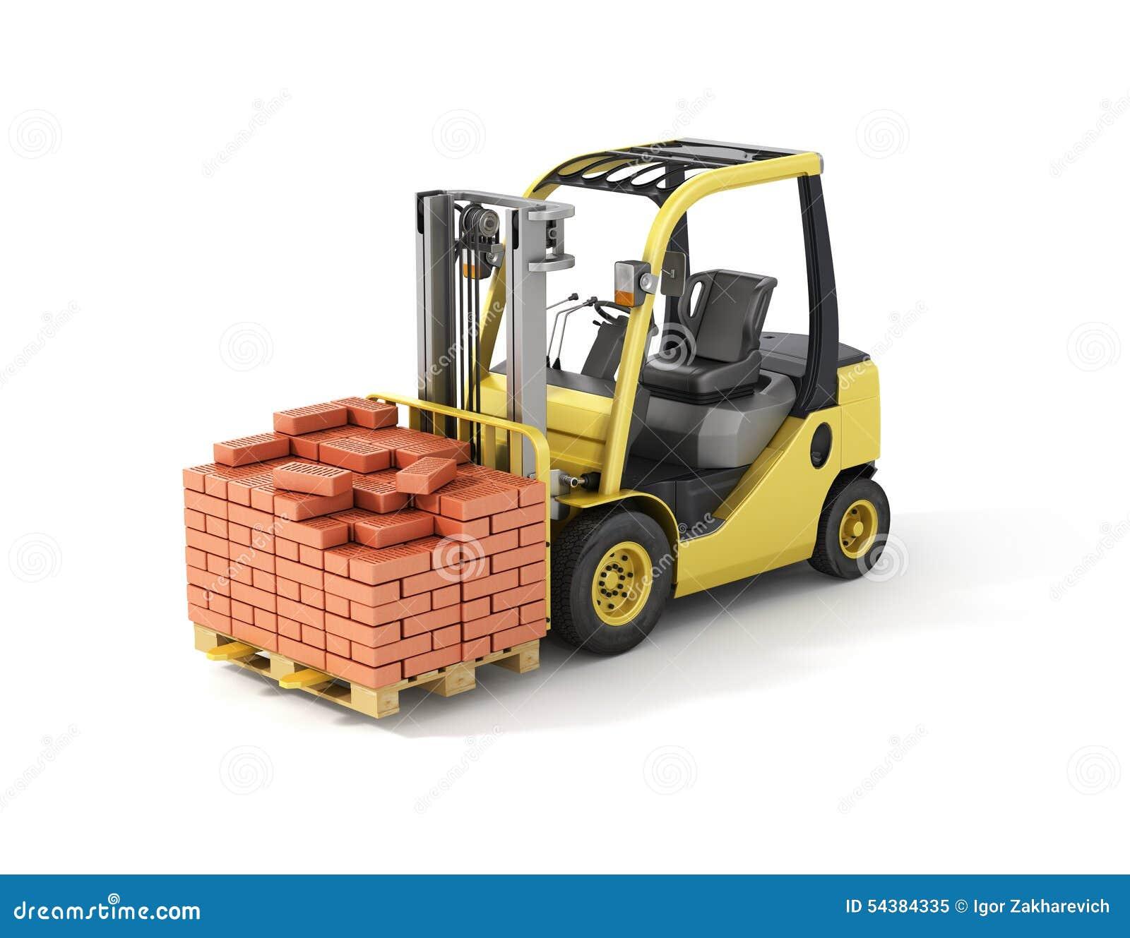 Chariot élévateur avec des briques