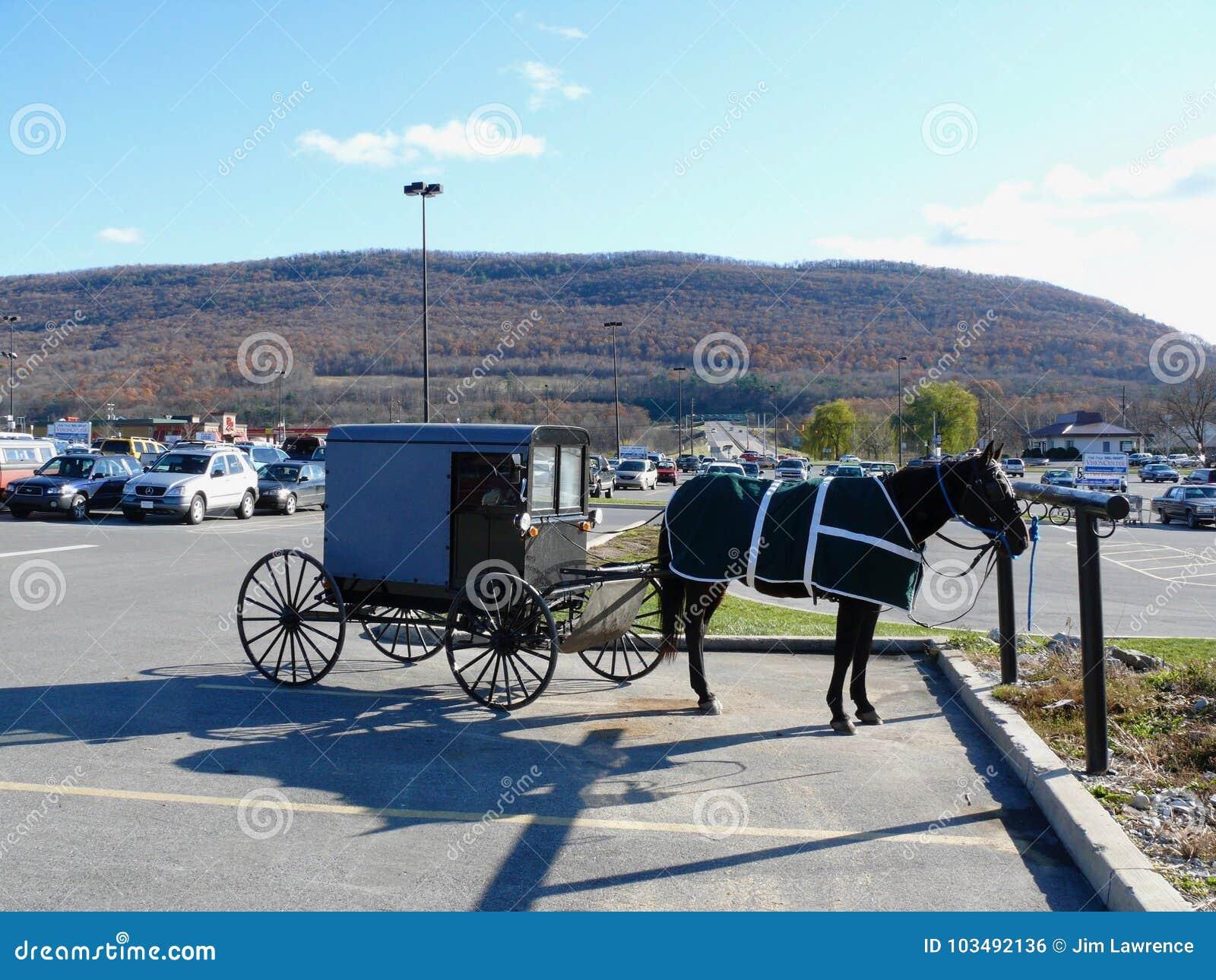 Chariot amish dans le parking de Hall de moulin
