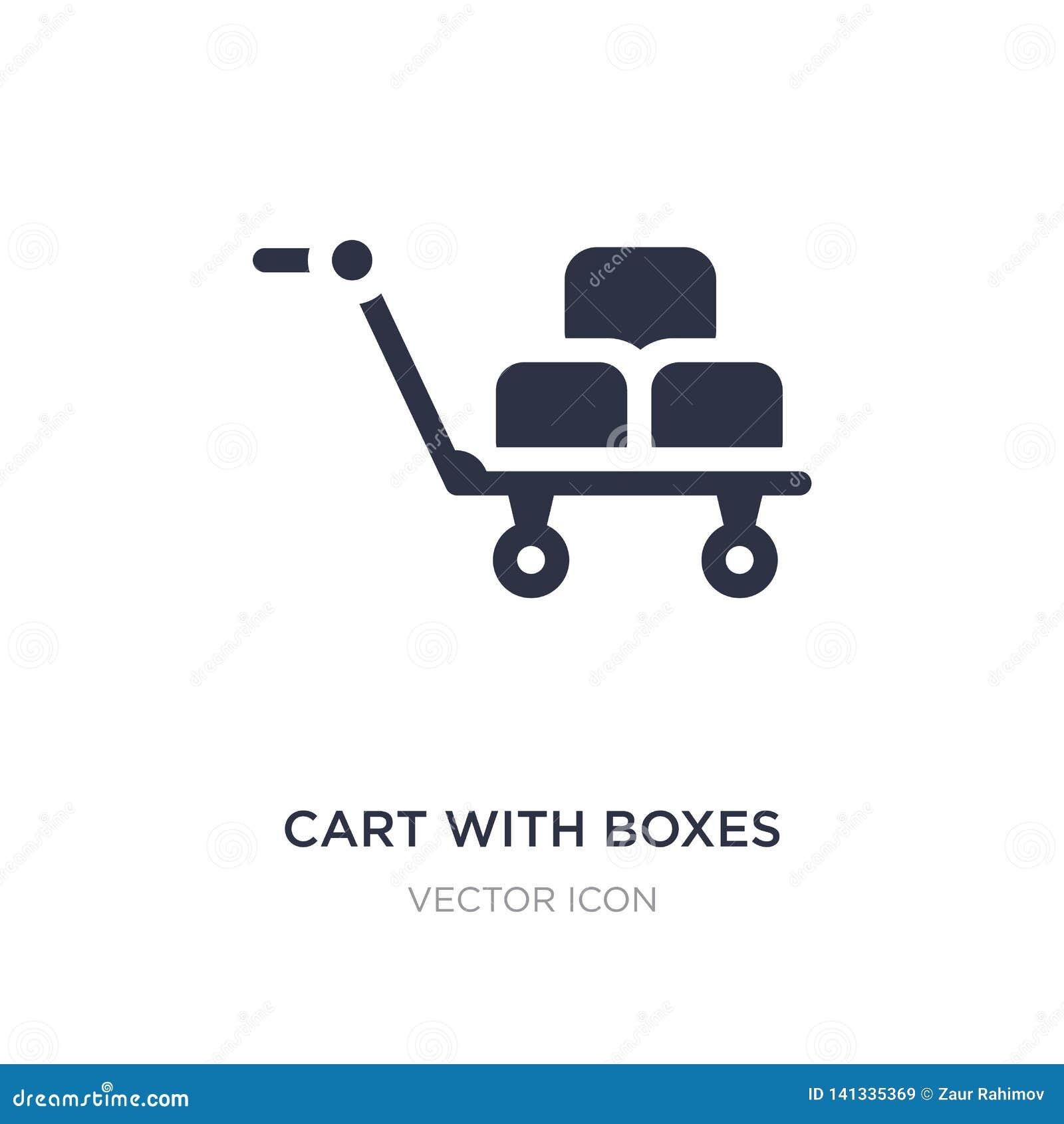 Chariot avec l icône de boîtes sur le fond blanc Illustration simple d élément de concept de transport