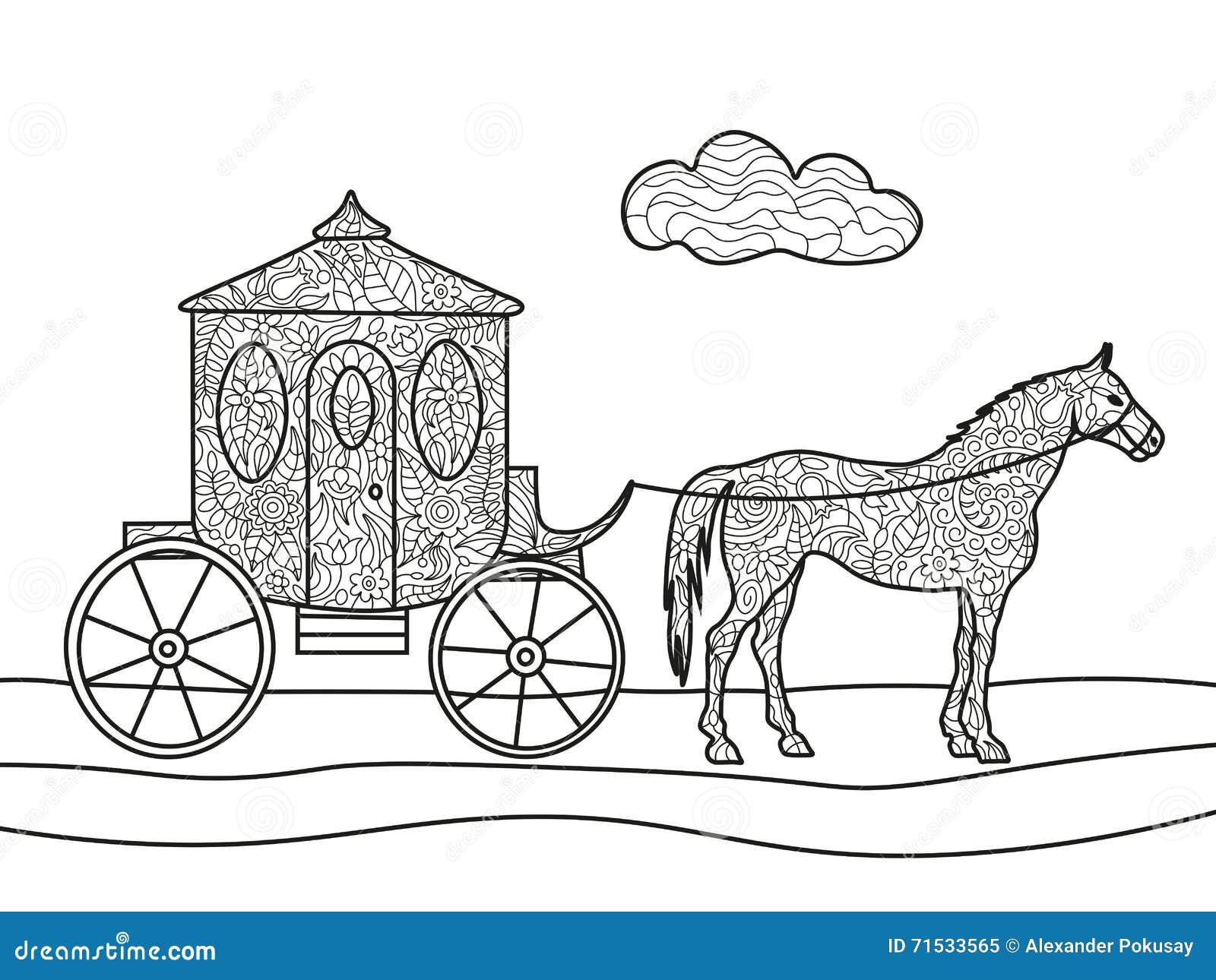 Chariot Avec Le Vecteur De Livre De Coloriage De Cheval
