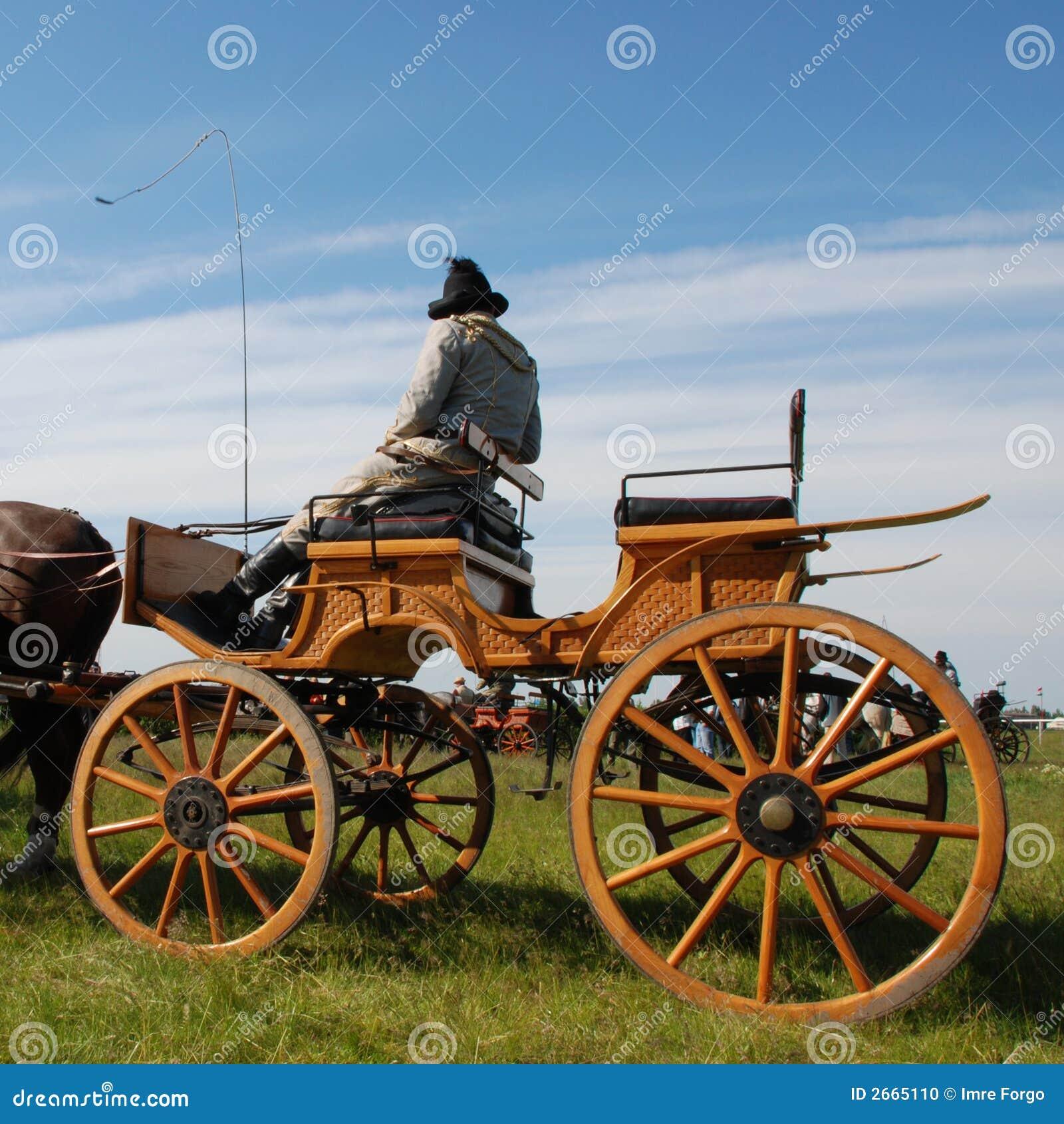 Chariot de cheval avec le gestionnaire