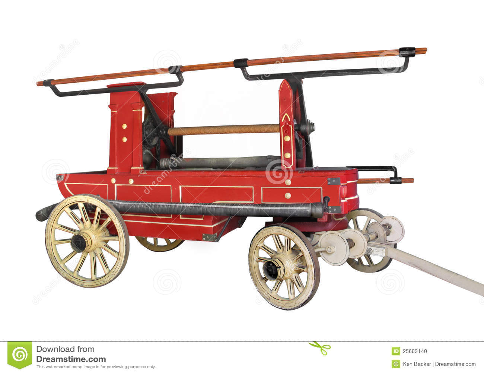 Chariot hippomobile d incendie de cru d isolement.