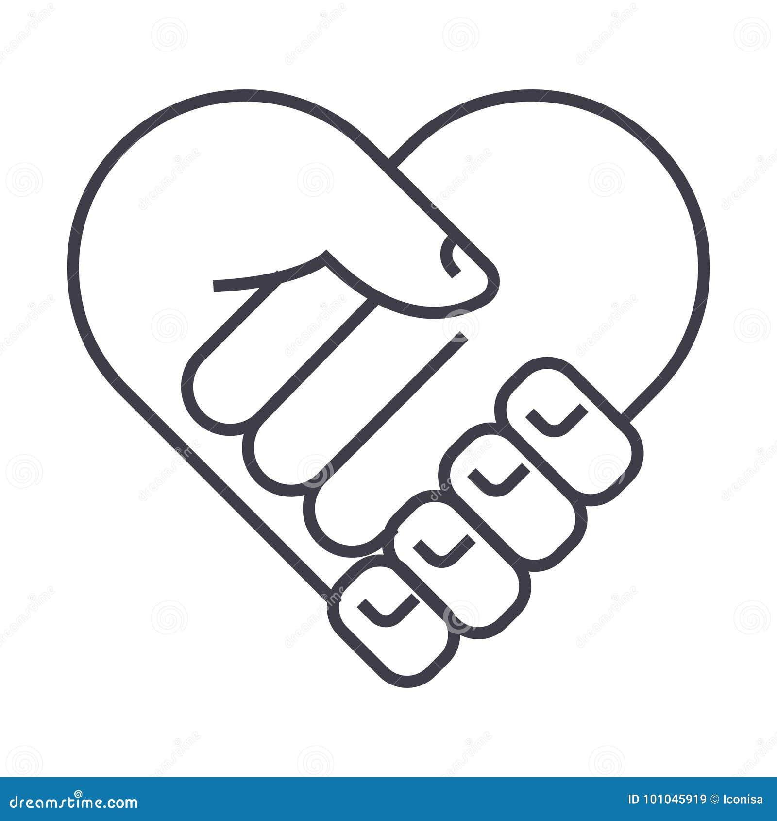 Charité, tête de soutien, forme de coeur, ligne icône, signe, illustration de vecteur de médecine sur le fond, courses editable