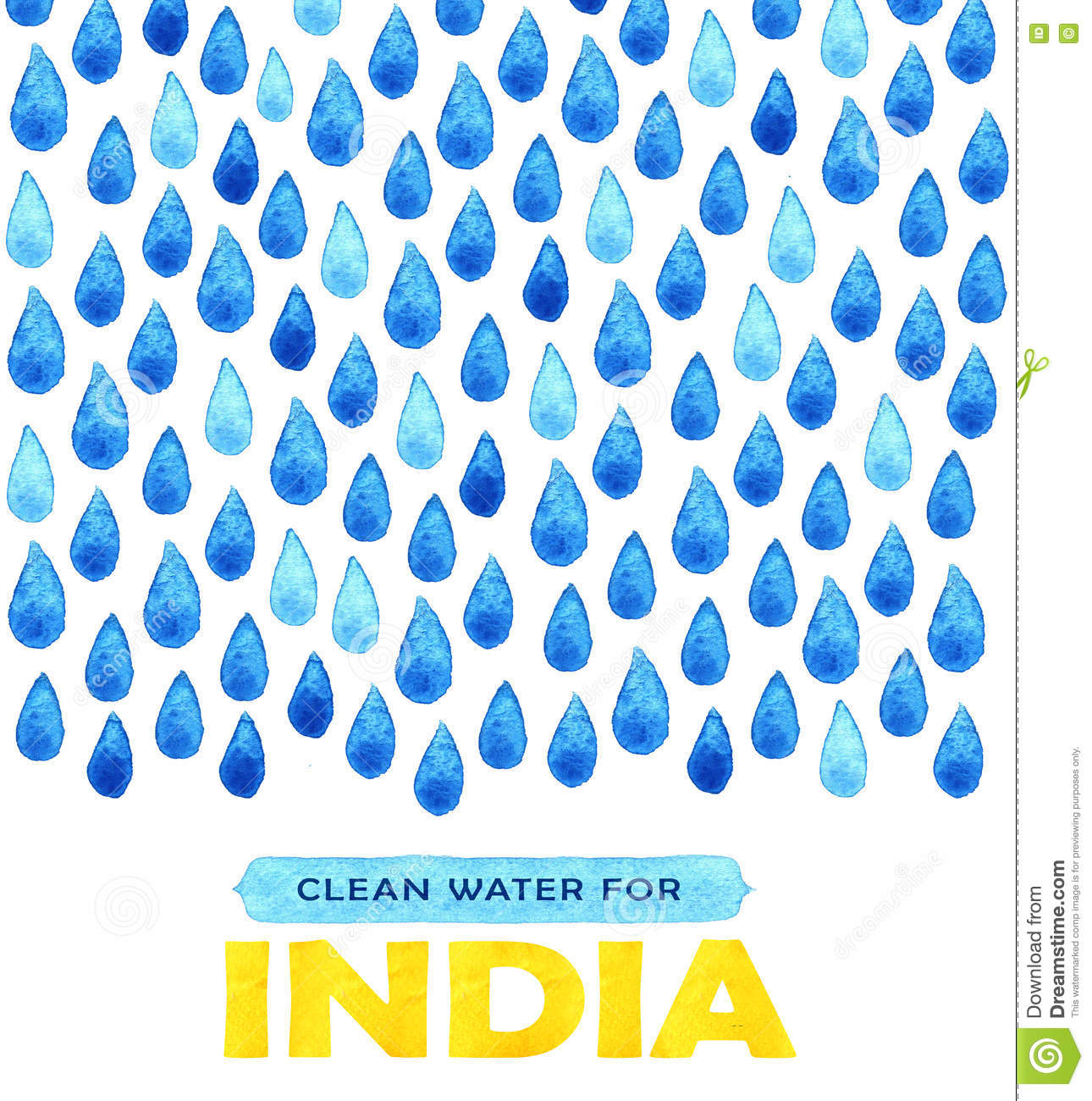 Charity Clean Water Poster  Social Illustration About Problems India