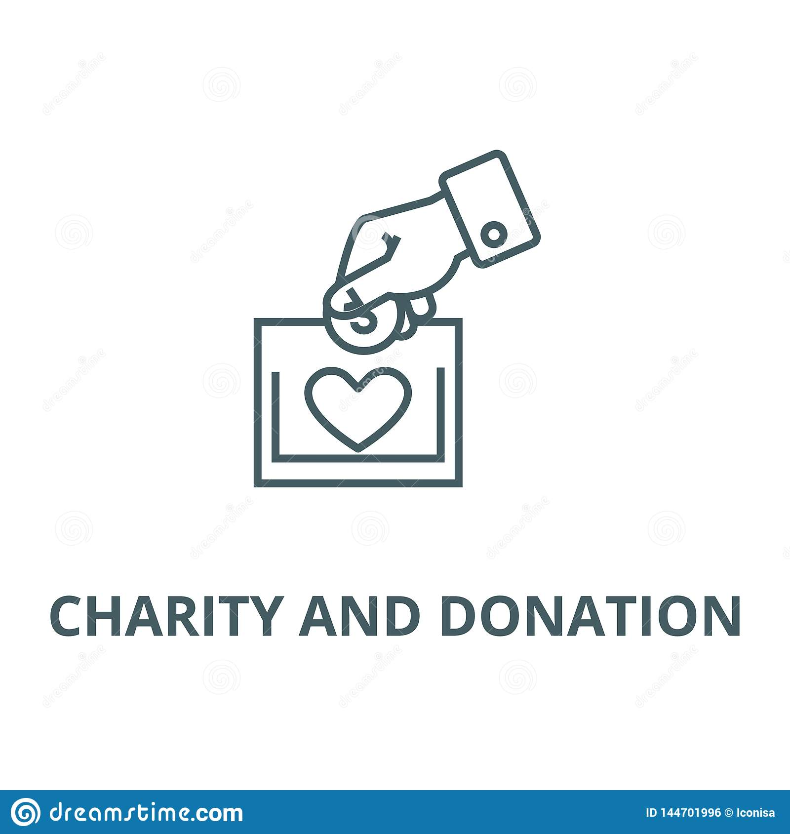 Charity and donation line icon, vector. Charity and donation outline sign, concept symbol, illustration