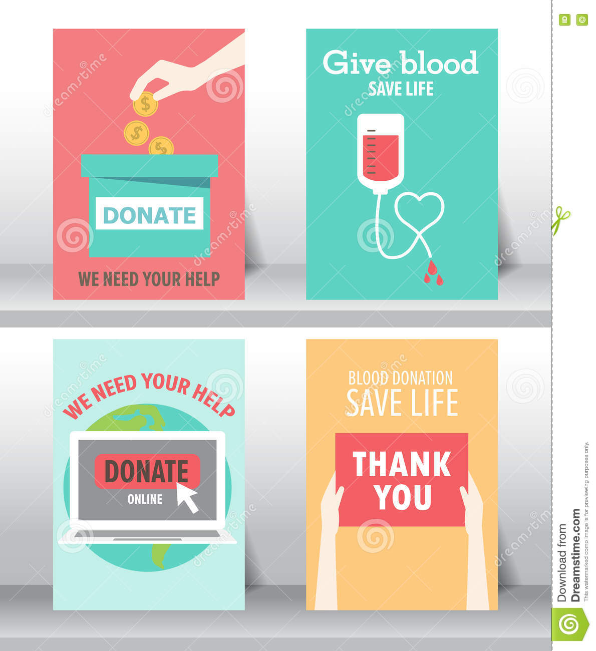 charity and donation poster set stock vector