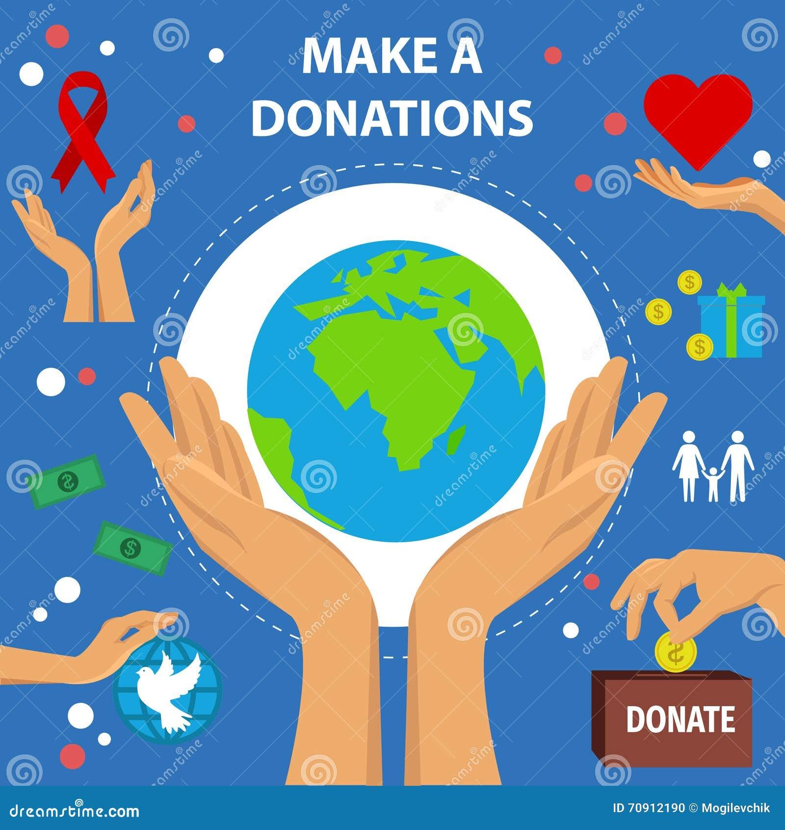 Charity Flat Poster Vector Illustration Cartoondealer