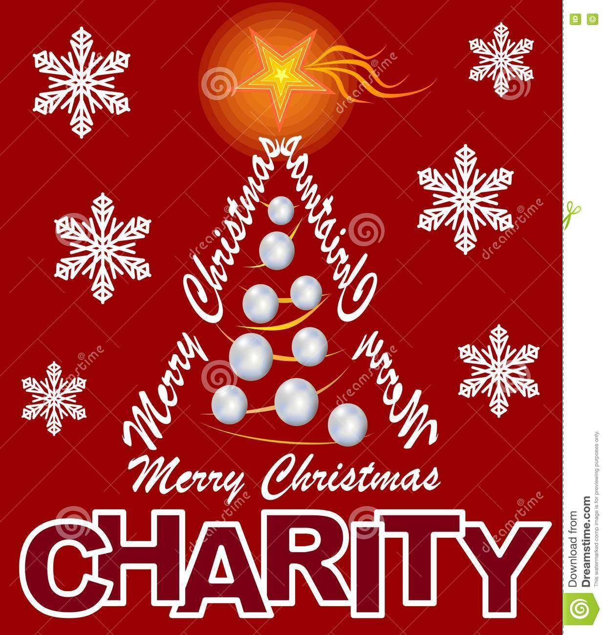 charity flyer with christmas tree composed of letters inscription